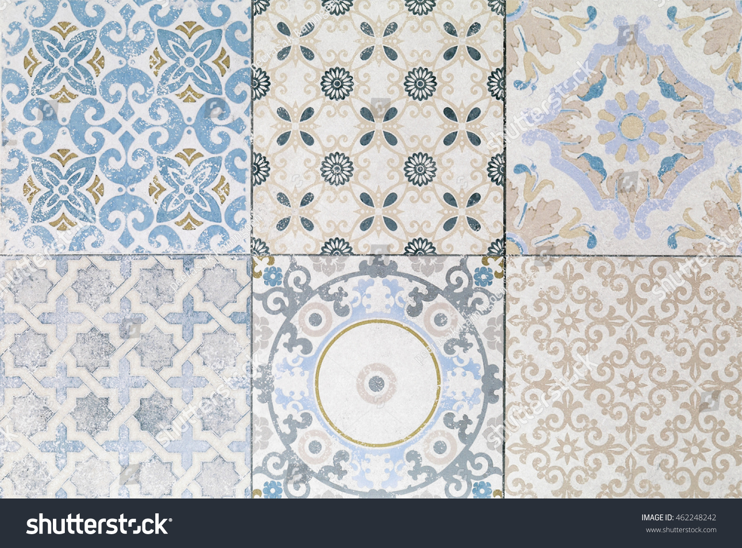 Old Ceramic Tile Wall Patterns Park Stock Photo (Edit Now) 462248242 ...