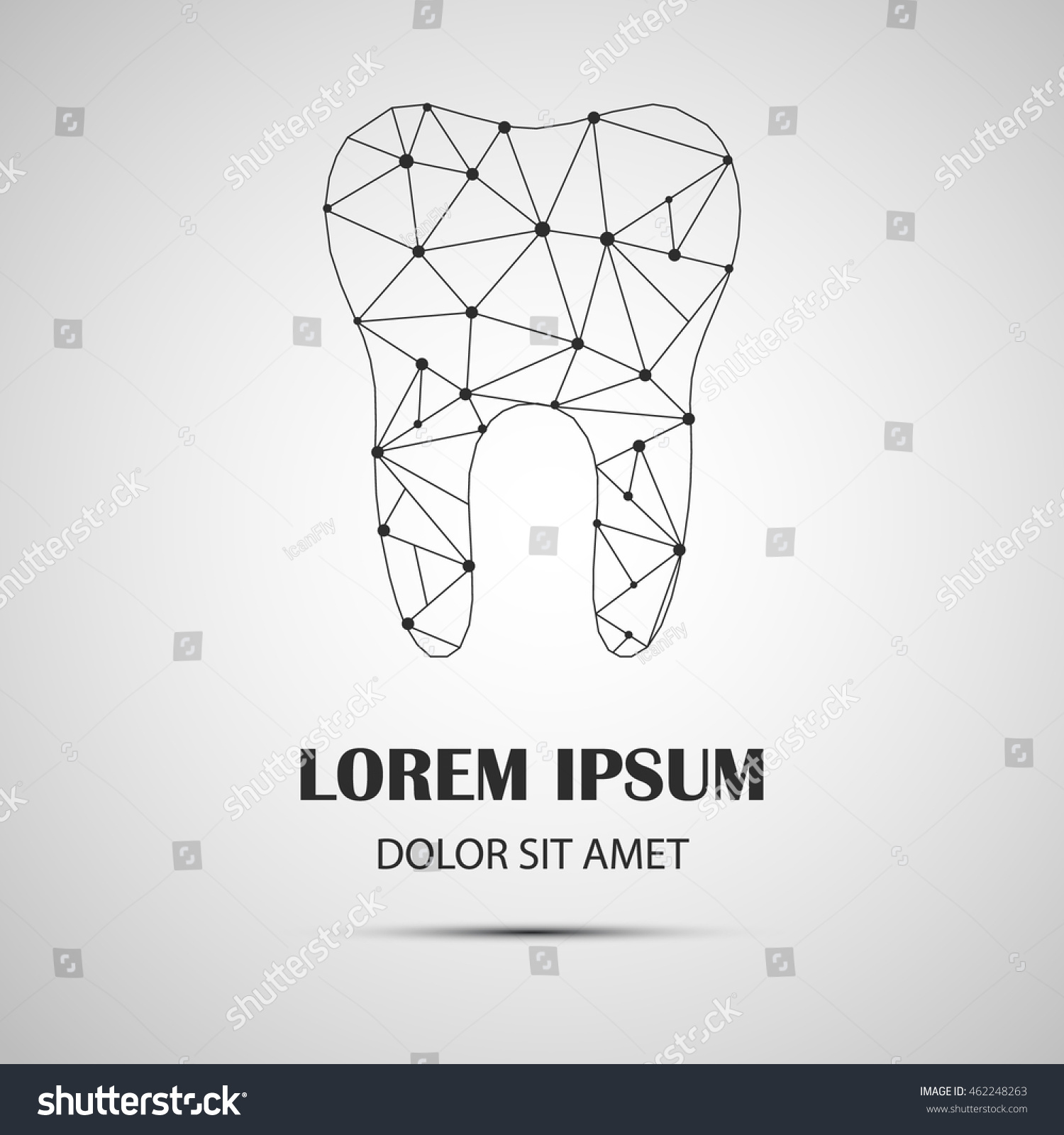 Tooth logo.Dental logo.Dental Logo Template.Polygonal-low poly style thin line icon.tooth dental logo design.Silhouettes of Tooth.Logo for Dental Clinic.Stomatology.Dental clinic vector icon.Dent Logo