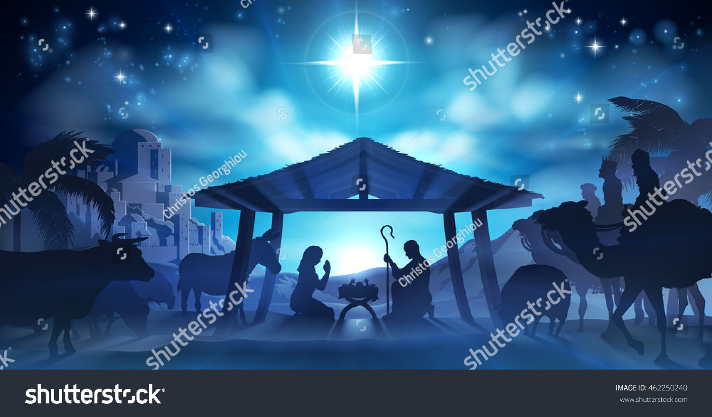 Christmas Nativity Scene Baby Jesus Manger Stock Vector (Royalty ...