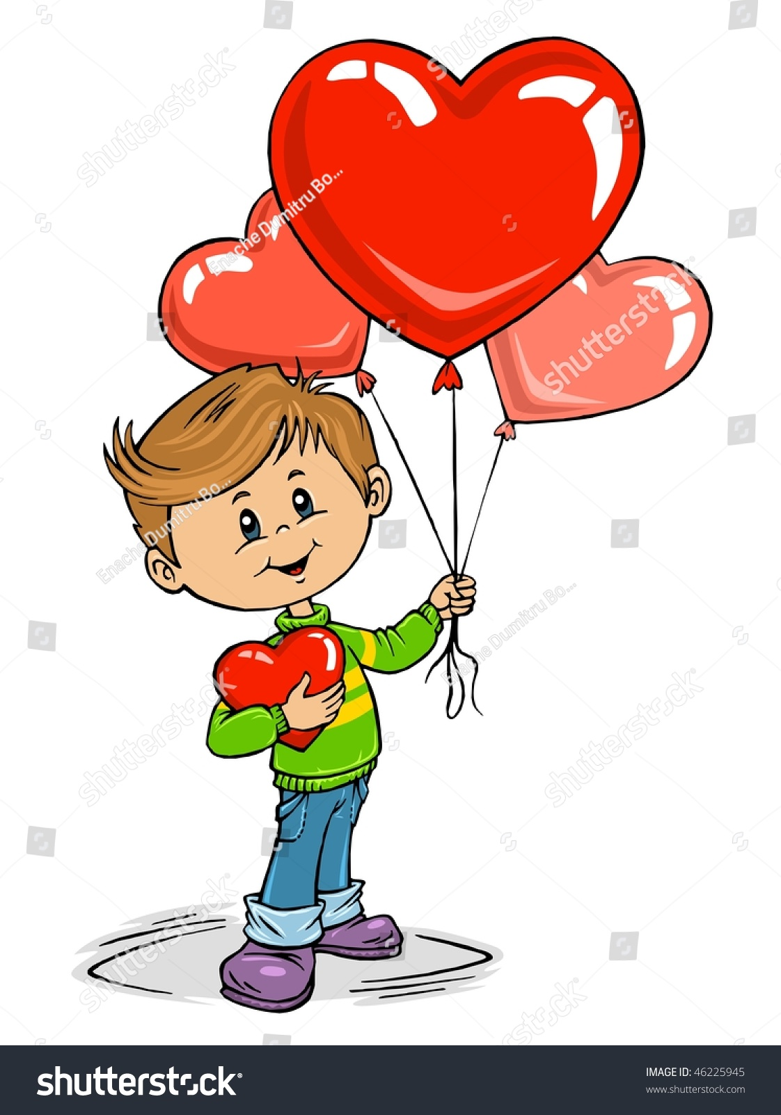 Valentines day boy red hearts balloons stock vector