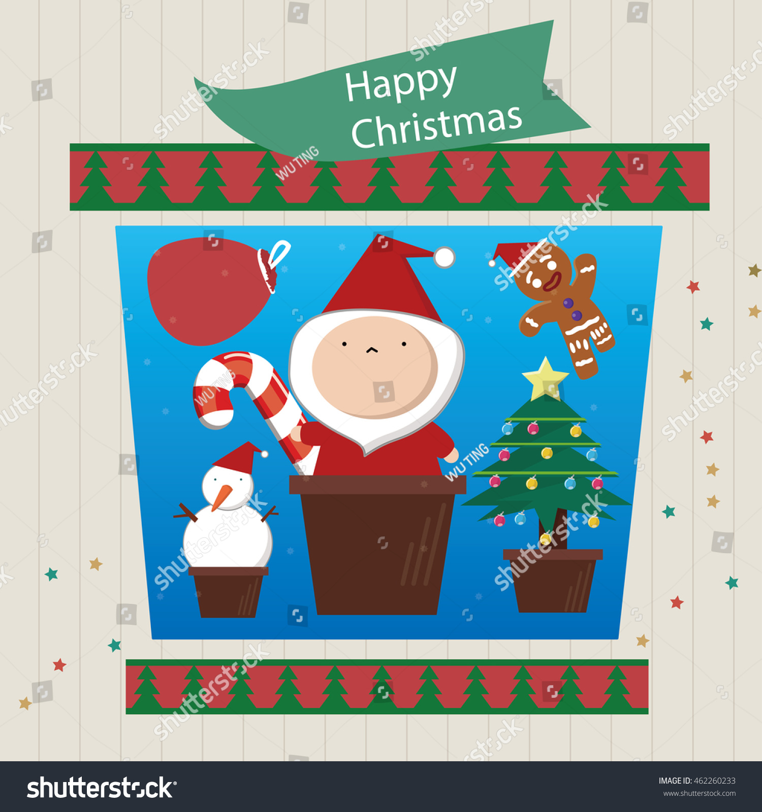 Xmas Greeting Card Funny Merry Christmas Card Stock Vector Royalty