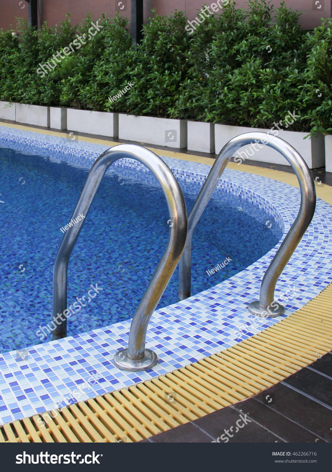 Grab Bars Ladder In Blue Swimming Pool Stock Photo 462266716 Shutterstock