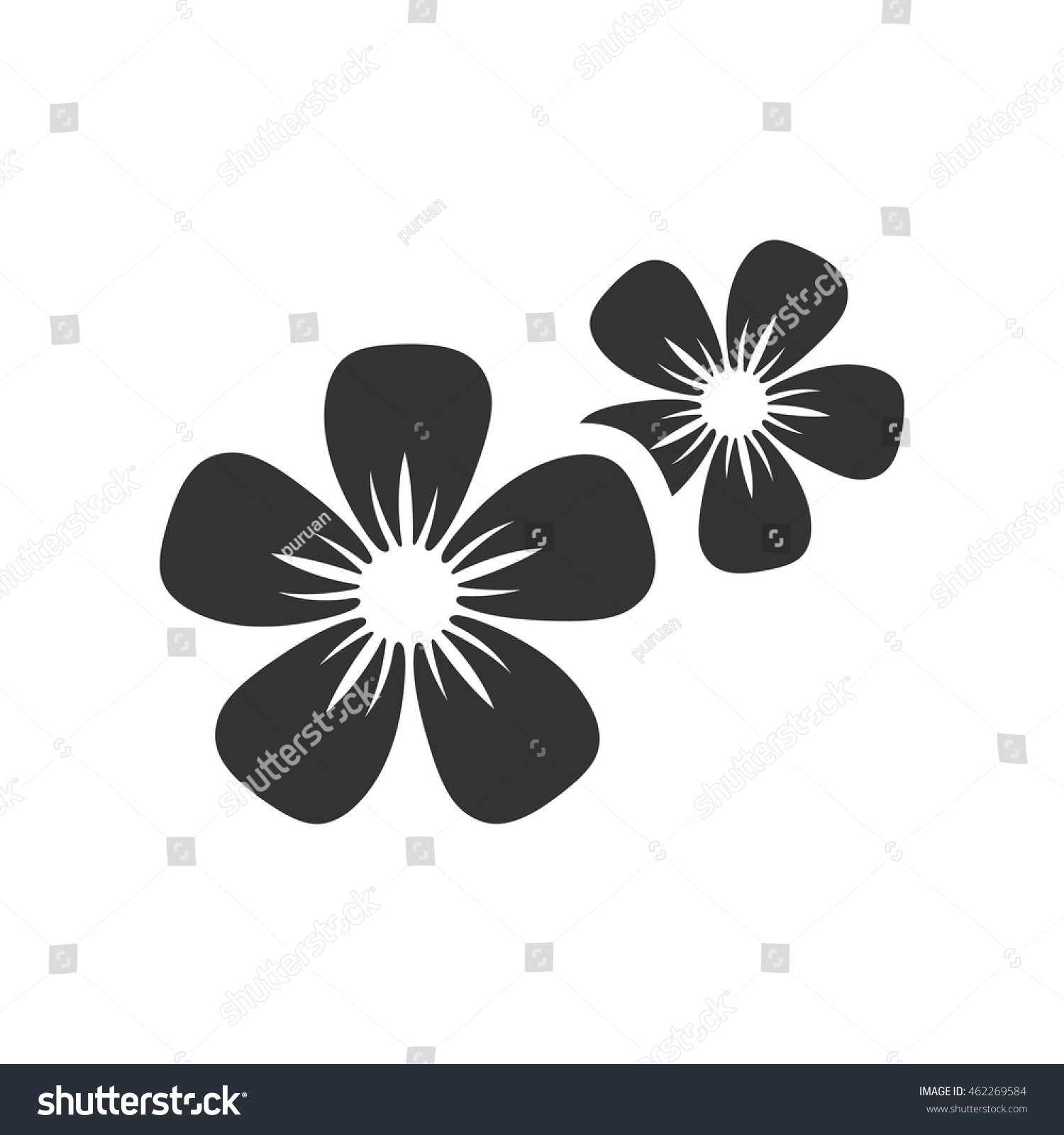 Jasmine Flowers Icon Single Grey Color Stock Vector Royalty Free
