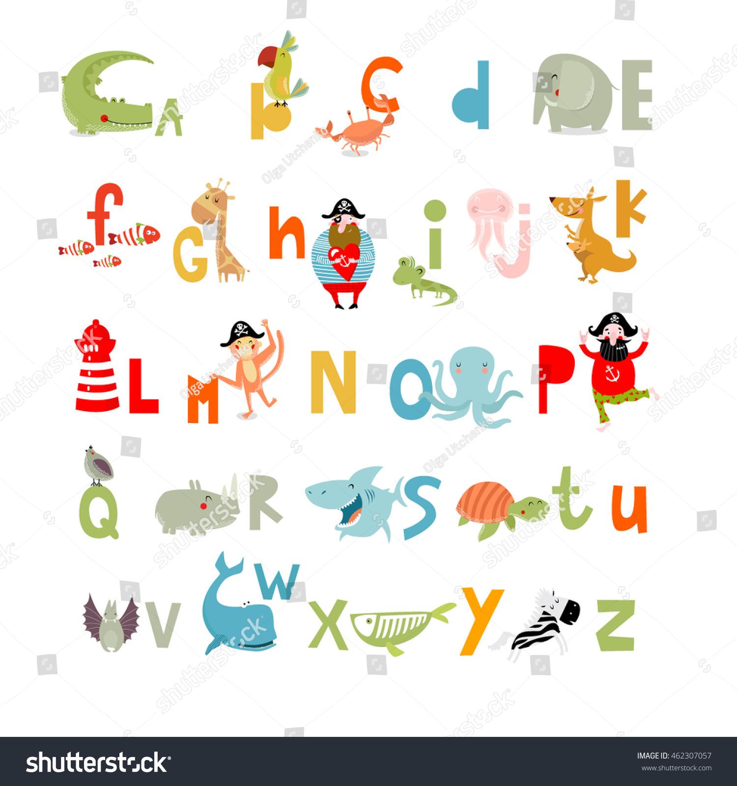 Cartoon Characters Letter Z : Vector illustration english alphabet animals cartoon stock