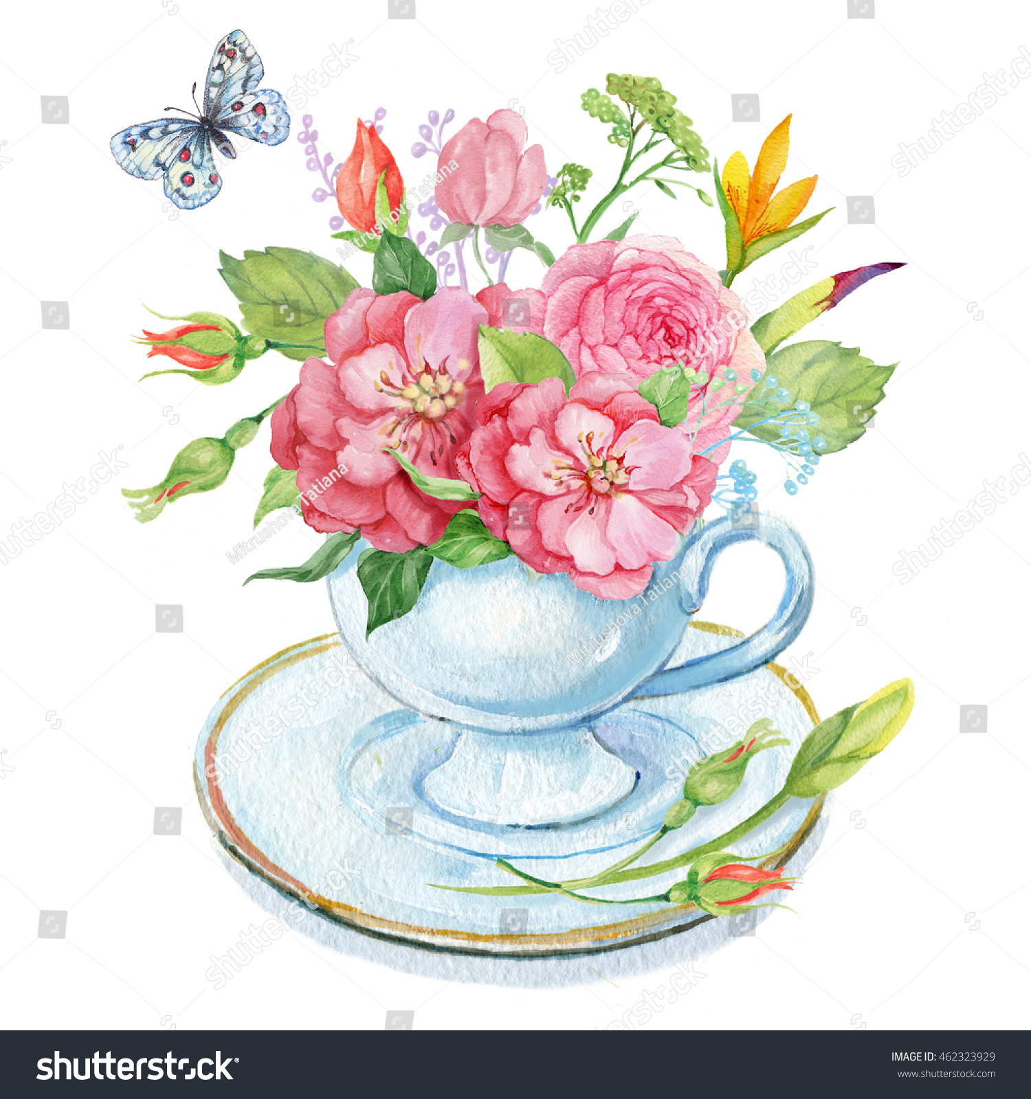 Bouquet flowers cup butterflywatercolor illustration stock a bouquet of flowers in a cup and butterflywatercolor illustration izmirmasajfo