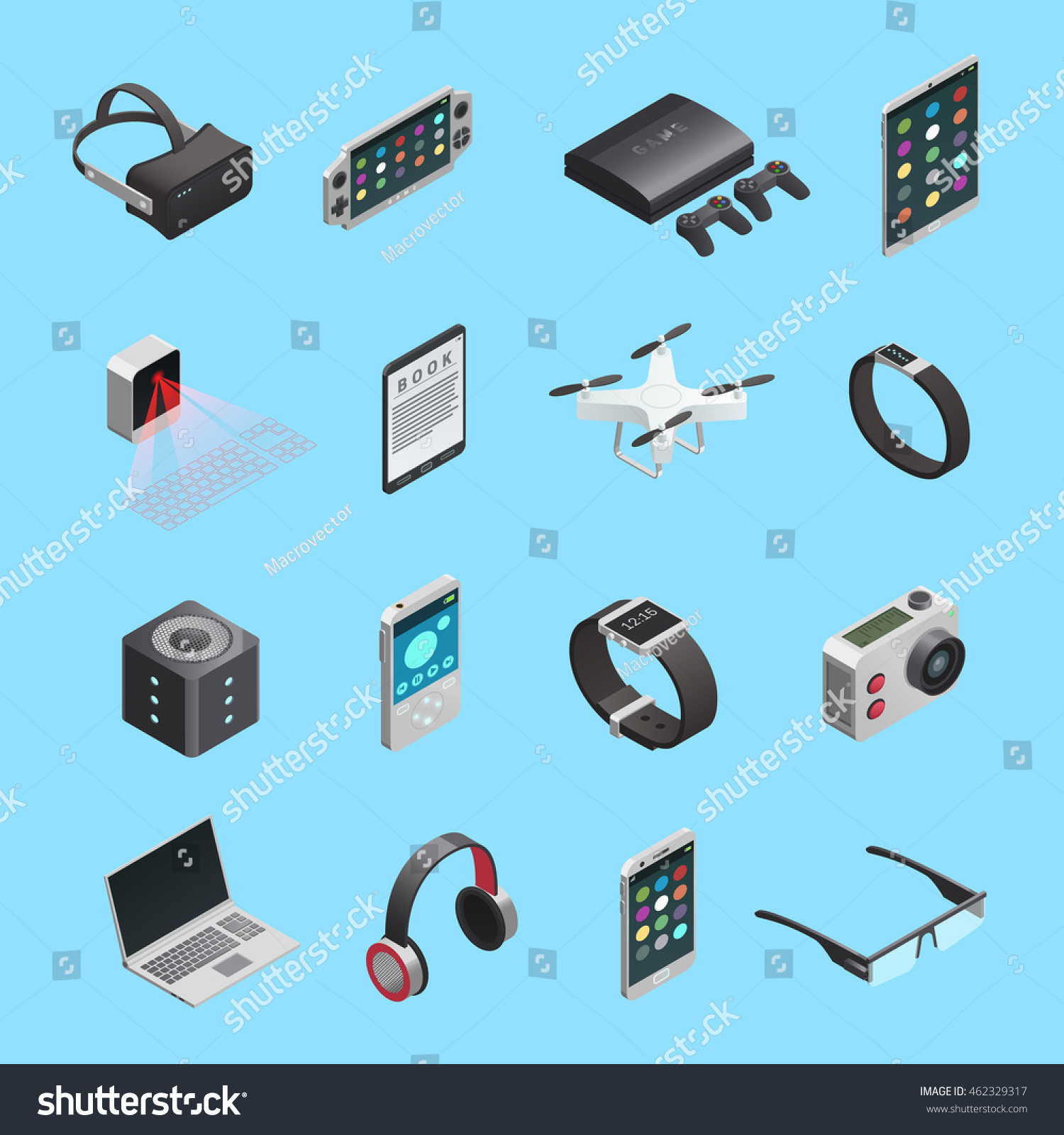 Isometric Icons Set Different Electronic Gadgets 462329317