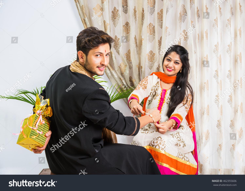 Indian Young Sister Tying Rakhi On Stock Photo 462355606 -3830