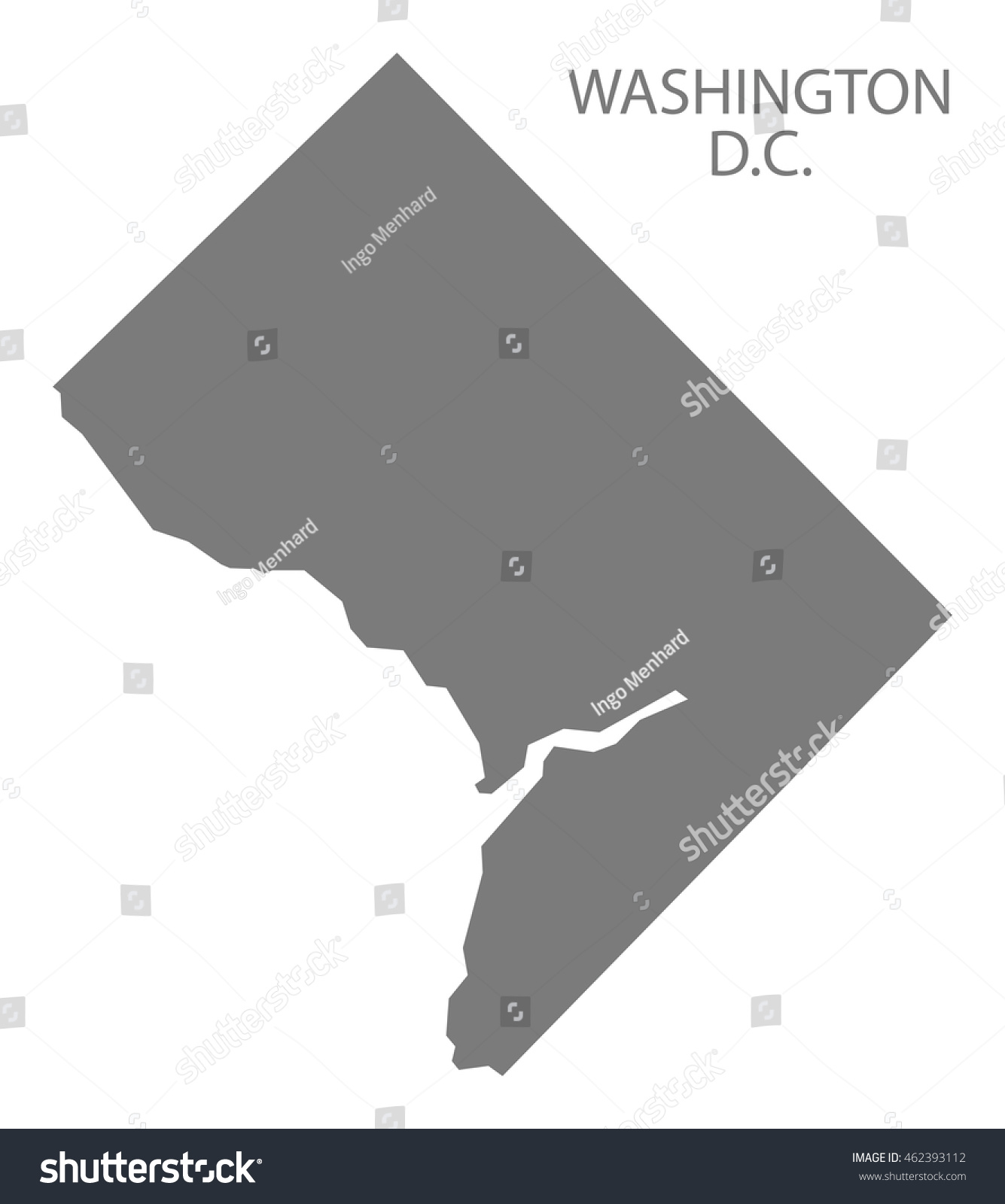 Washington Dc Usa Map Grey Stock Vector Shutterstock - Washington dc usa map