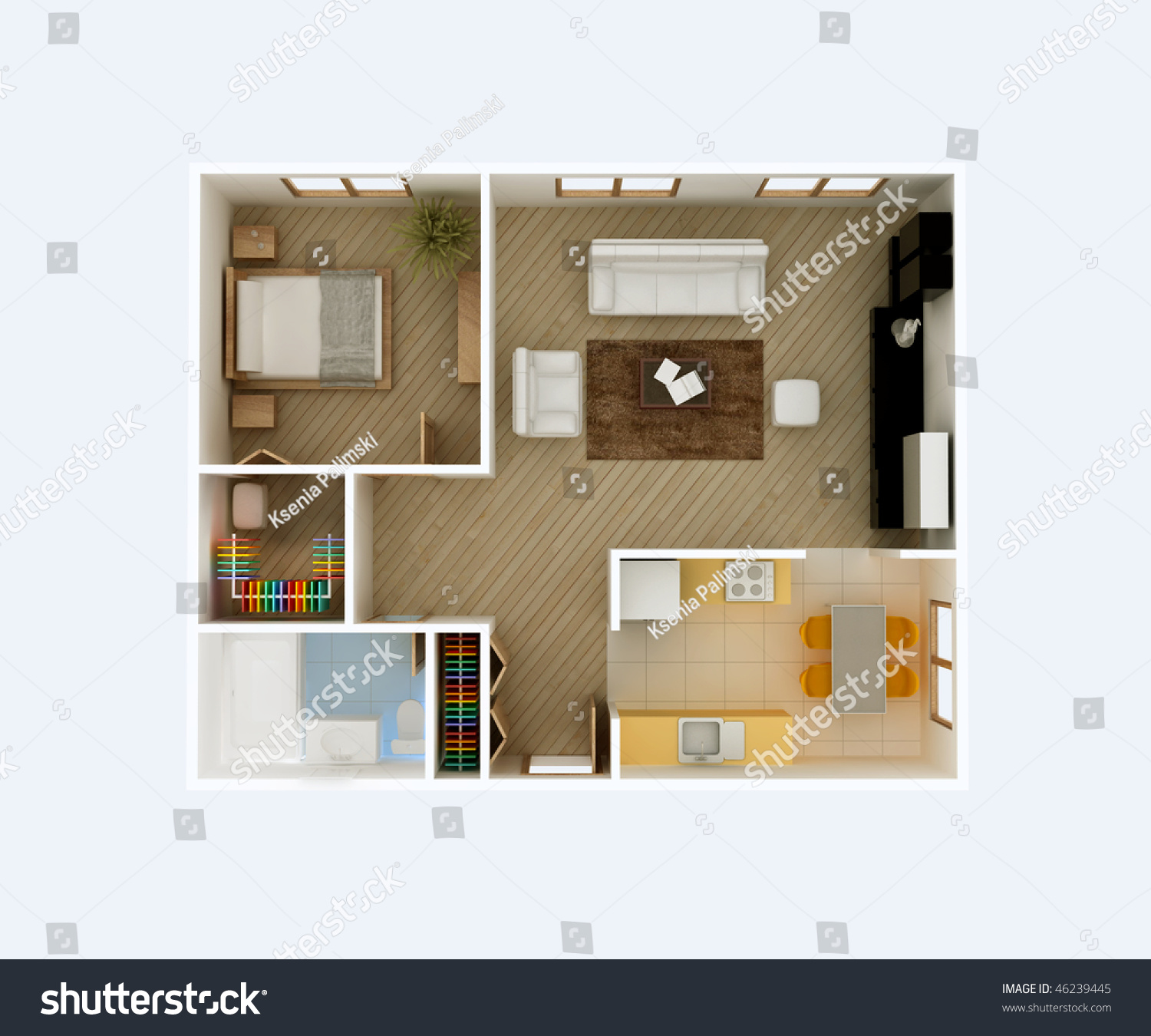 3d floor plan top view apartment interior aerial kitchen for Dining room 3d view
