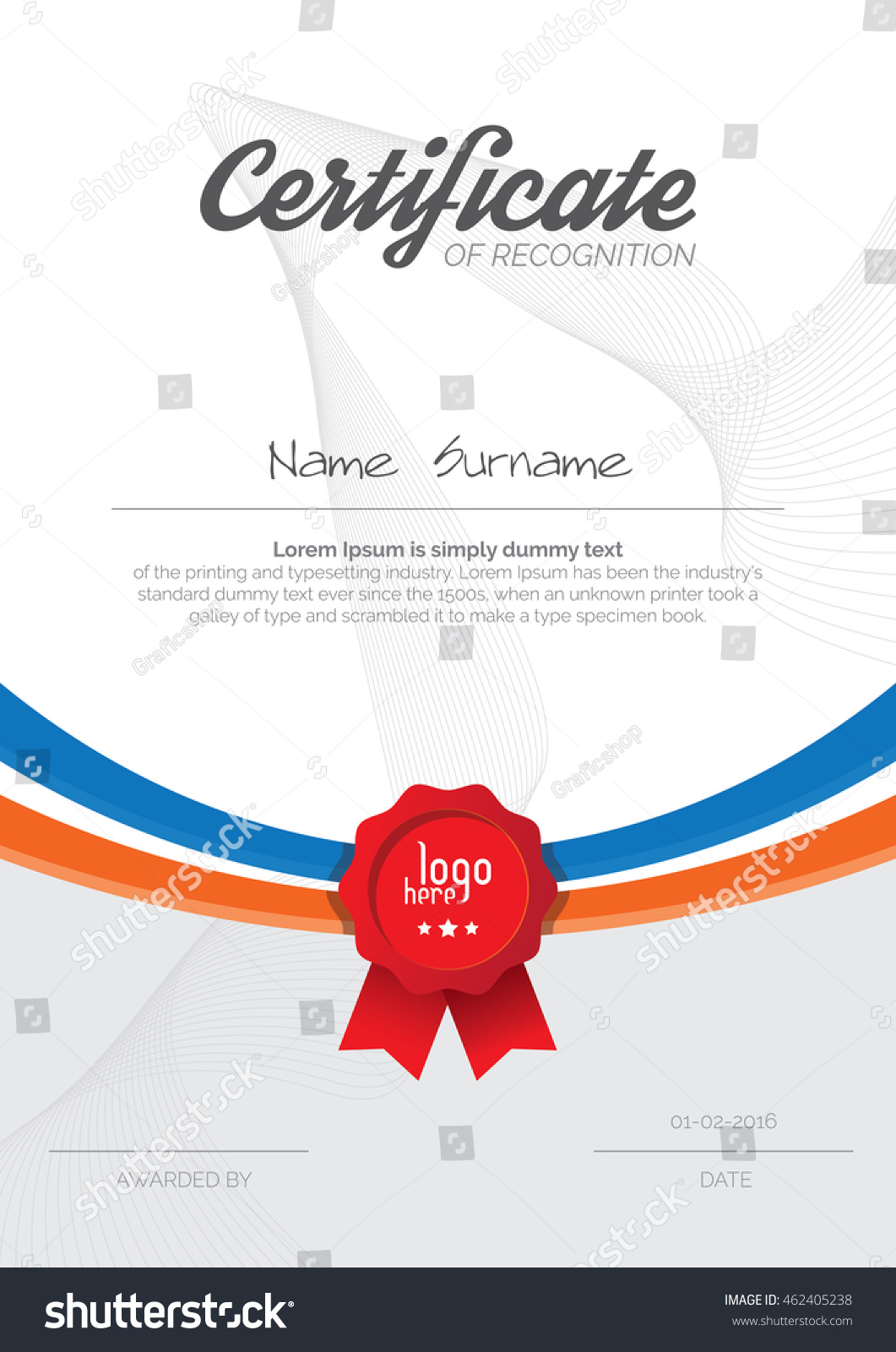 A 4 Vertical Certificate Layout Design Template Stock Vector
