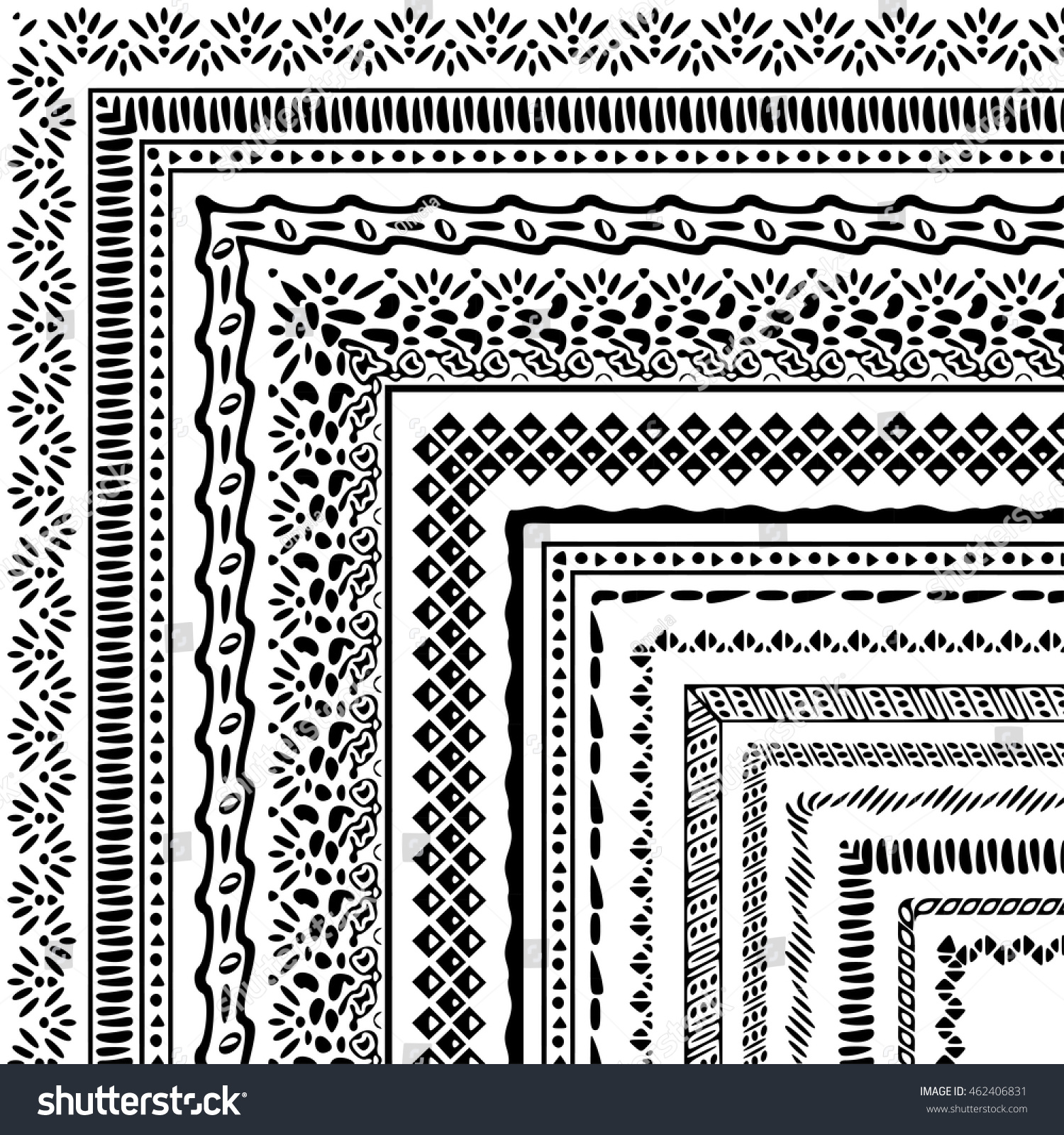 Vector Brushes Collection Boho Style African Stock Vector (Royalty ...