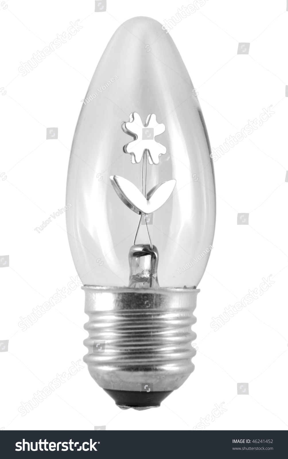Night Light Bulb With Normal Thread Isolated On White Background With Inside Reflection Stock