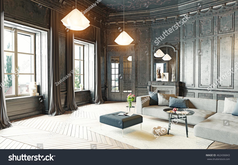 Modern Style Living Room Modern Style Black Living Room Apartment Stock Illustration