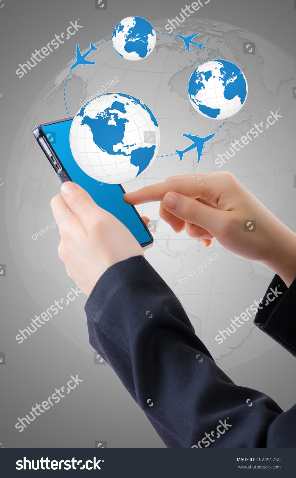 Hand holding mobile phone world map stock photo download now hand holding mobile phone with world map globe transport and technology concept gumiabroncs Choice Image