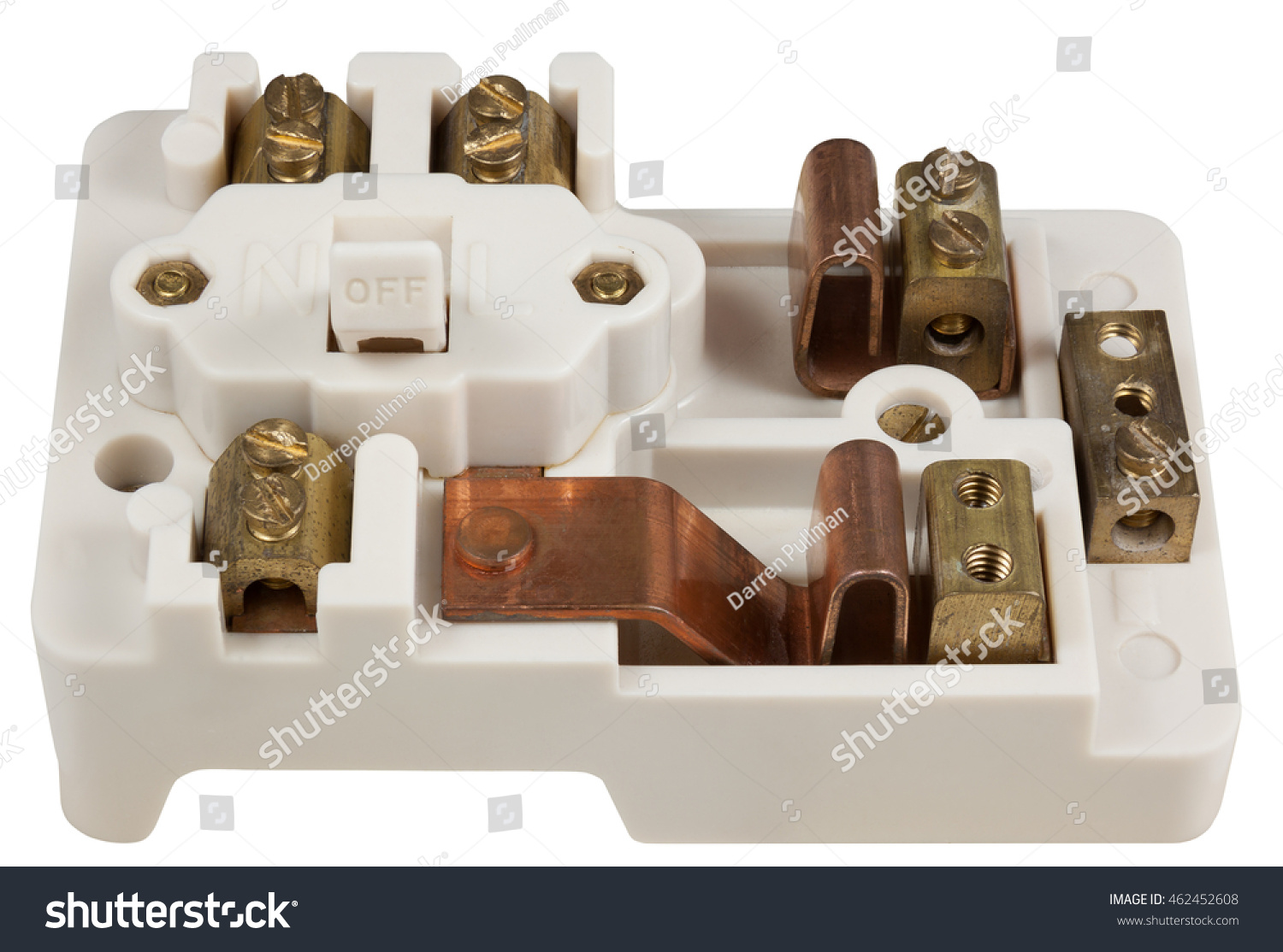 Inside Old Fuse Box Isolated On Stock Photo Edit Now 462452608 An White With Clipping Path