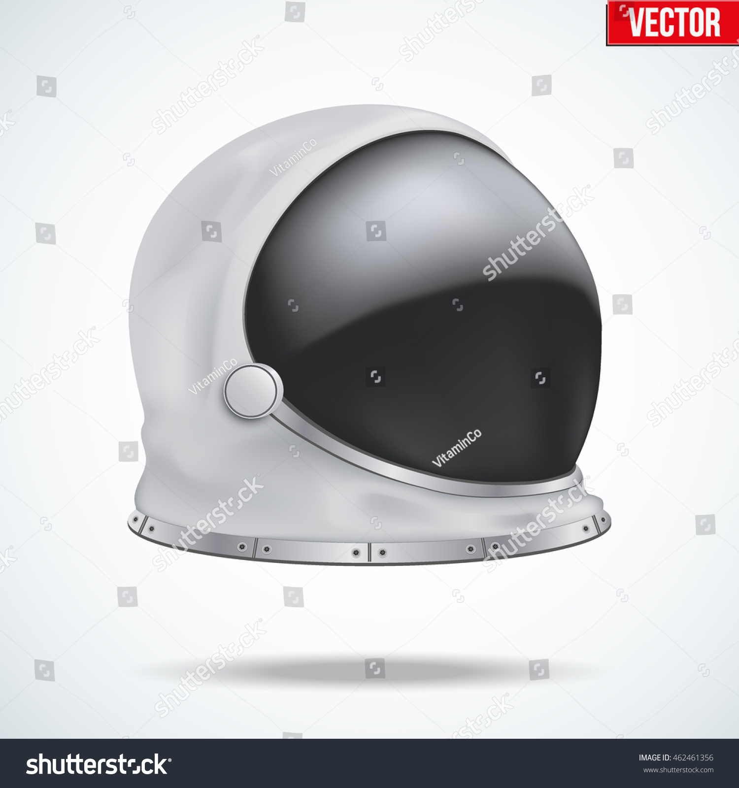 Astronaut Helmet Big Glass Reflection Side Stock Vector ...