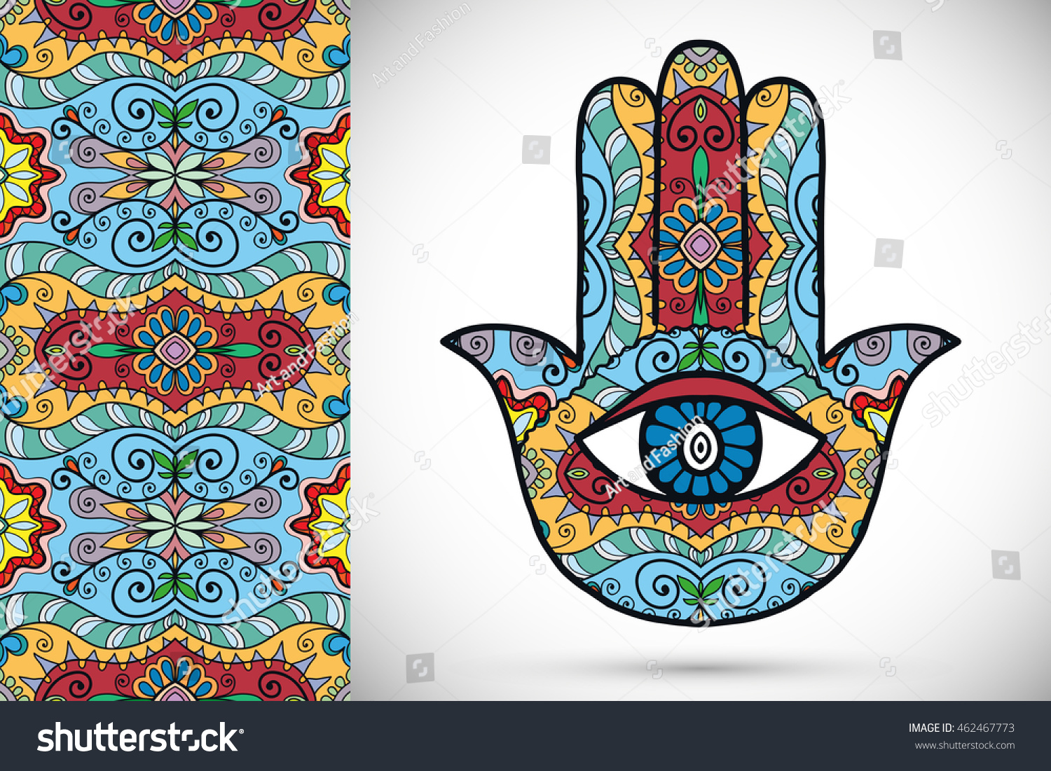 Boho hamsa hand protection amulet symbol of strength and happiness with seamless geometric pattern Abstract graphic background vertical floral doodle pattern vector illustration