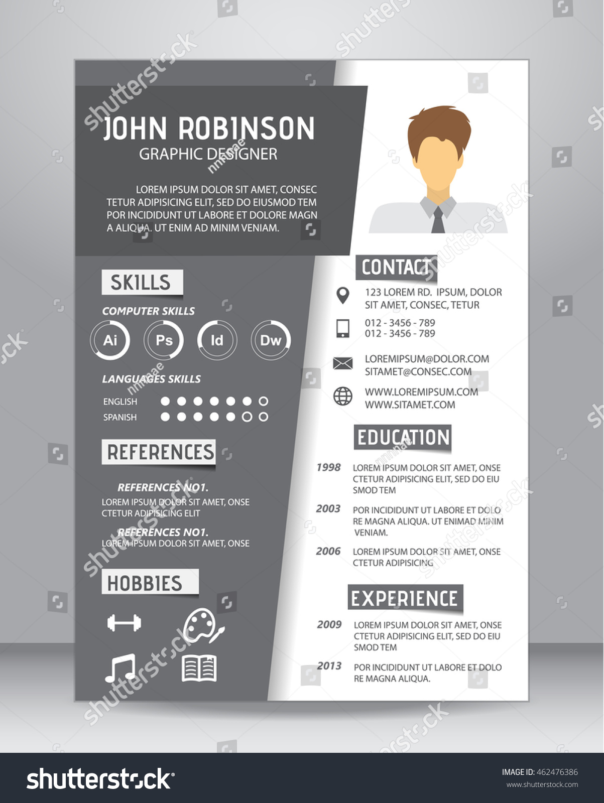 Job Resume Cv Template Layout Template Stock Photo Photo Vector