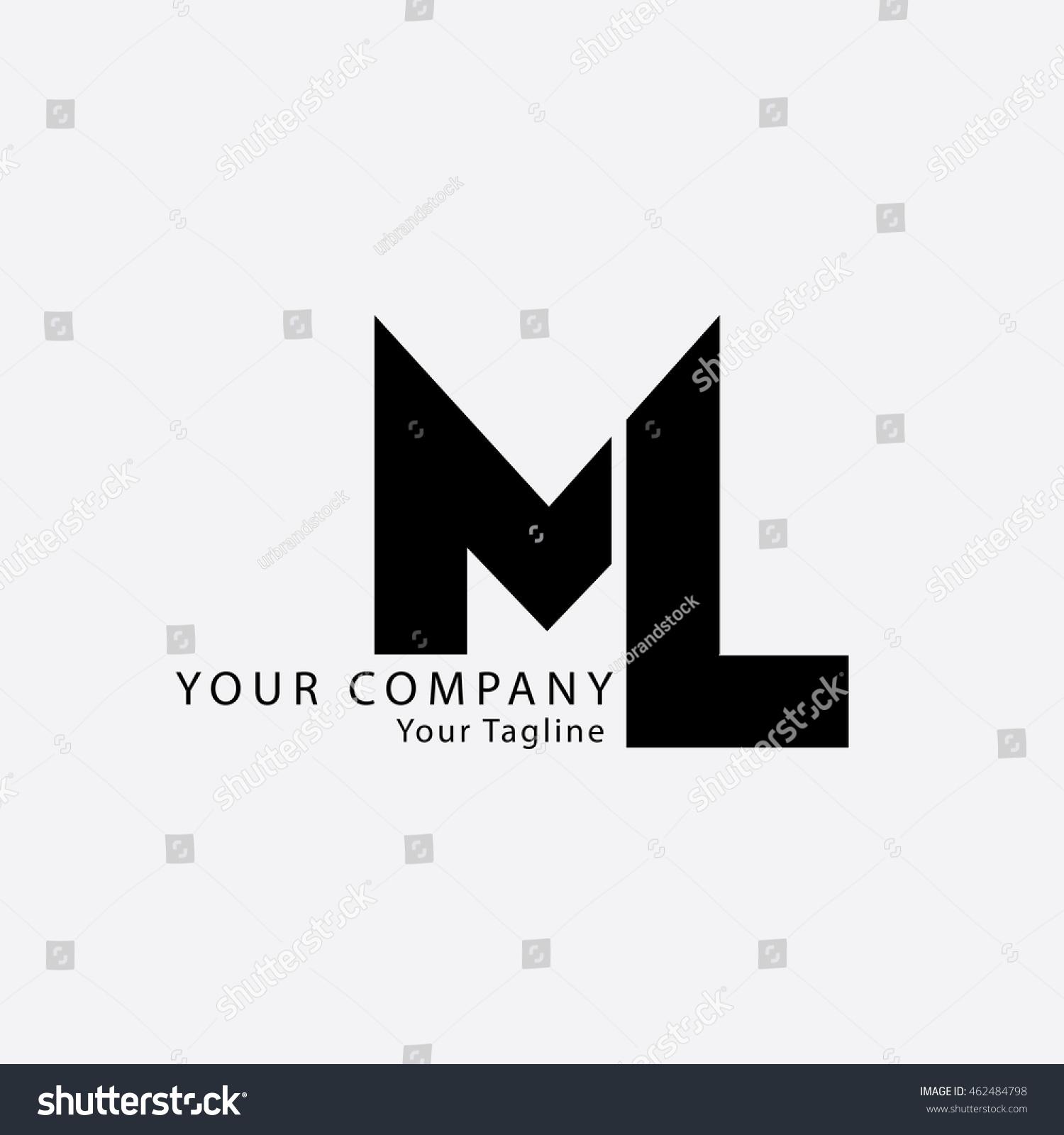 Luxury Letter N Logo Design: Initial Letter Ml Isolated Logo Black Stock Vector