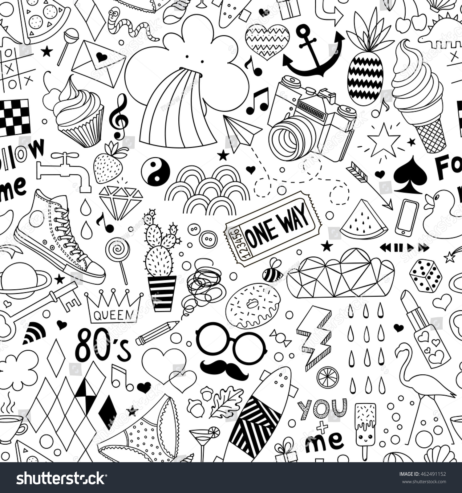 Cartoon hand-drawn seamless vector pattern with doodle icons items Vector background with cute elements Funny children drawing Coloring book Wallpaper cloth design fabric textile backdrop