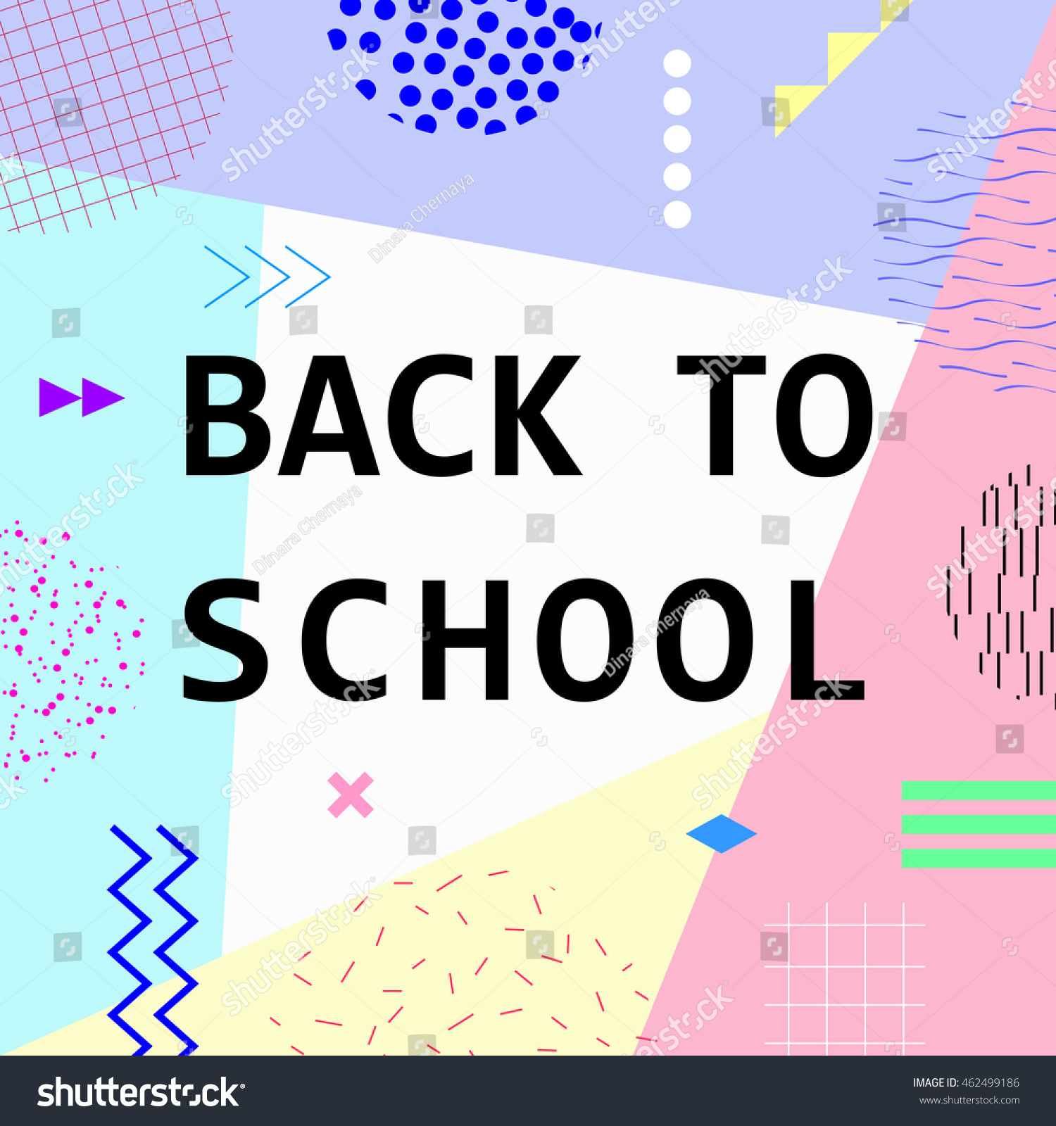 Back School Colorful Memphis Style Banner Stock Vector 462499186