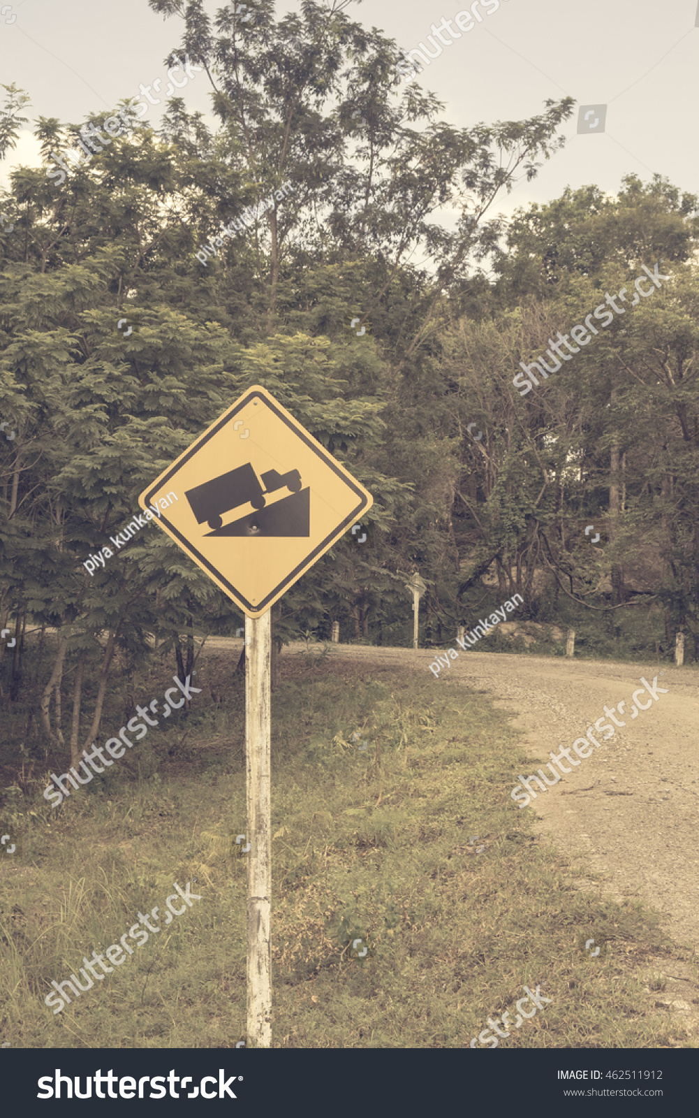 Traffic Signs Danger Road Slope Forest Stock Photo (Edit Now) 462511912