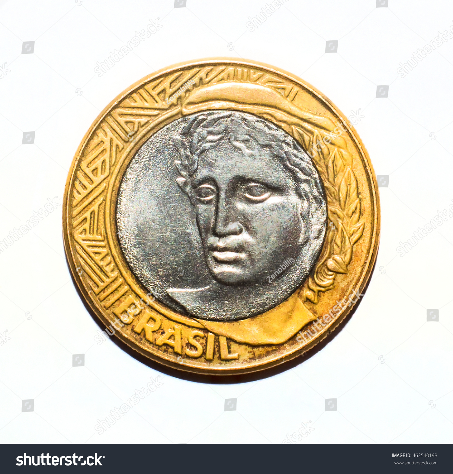 Reverse 1 one brazilian real brl stock photo 462540193 shutterstock reverse 1 one brazilian real brl with the image of a head buycottarizona Images