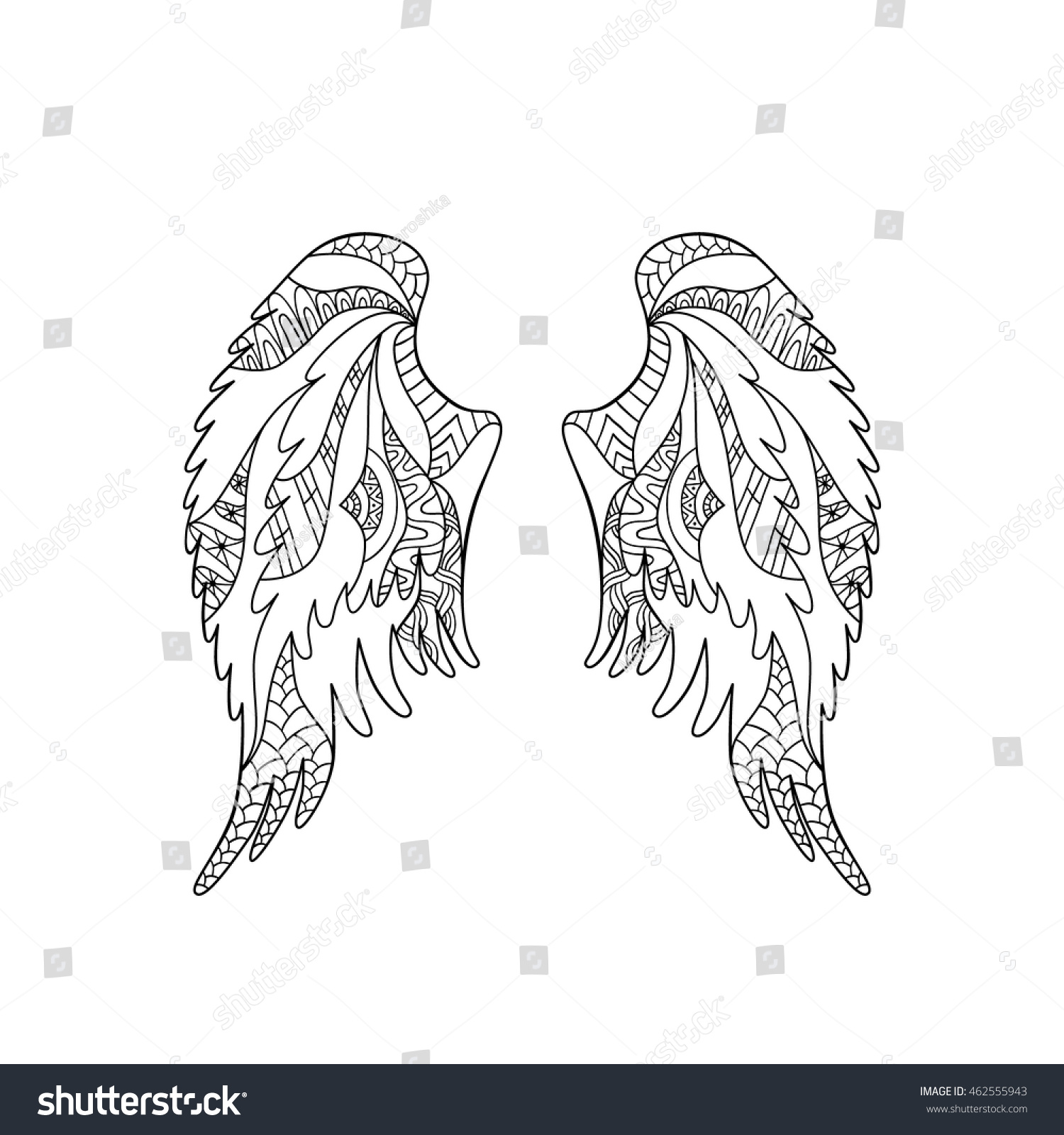 angel bird wings ornate silhouette vector stock vector 462555943