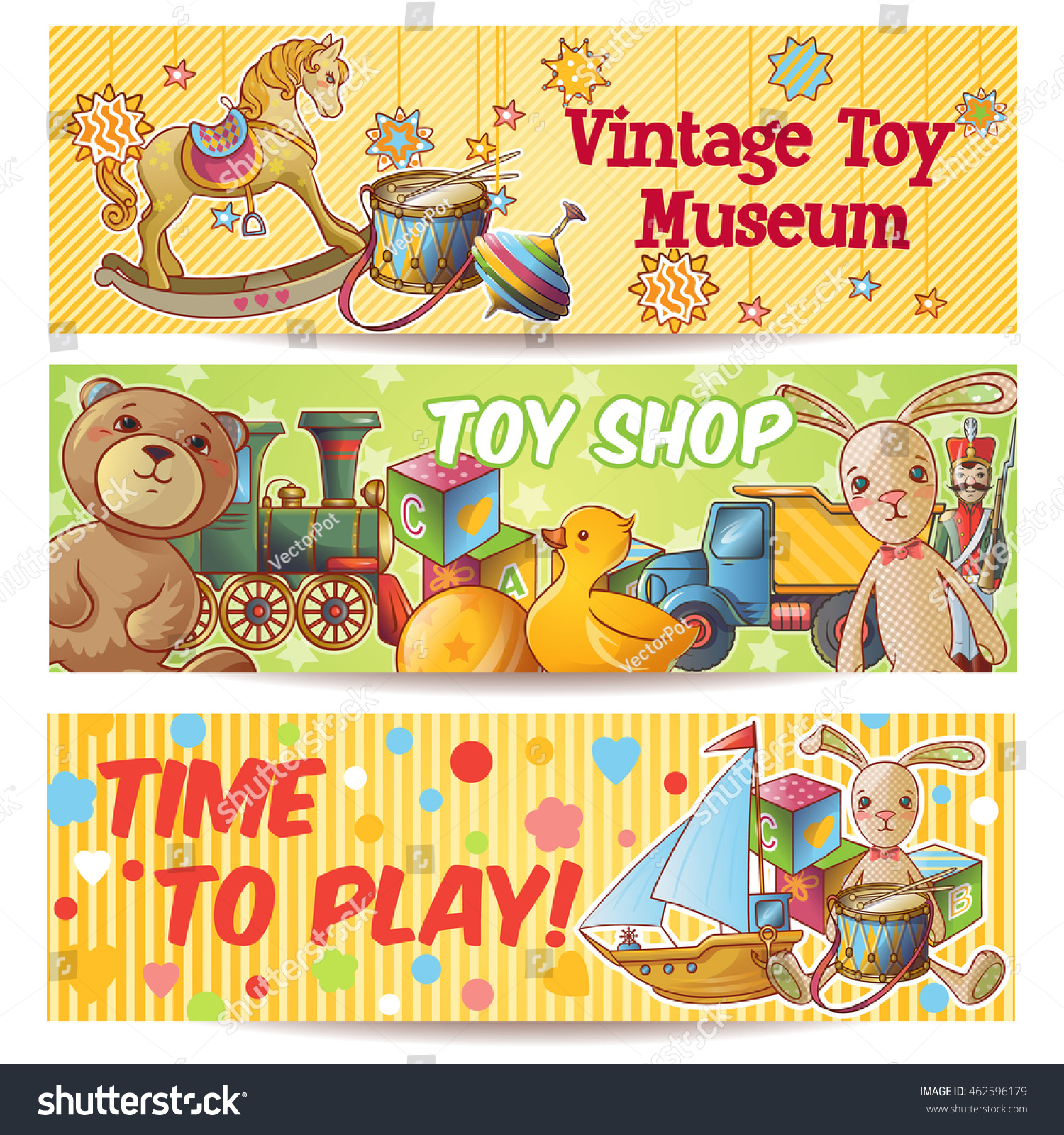 Three Horizontal Kids Toys Banner Set Stock Vector