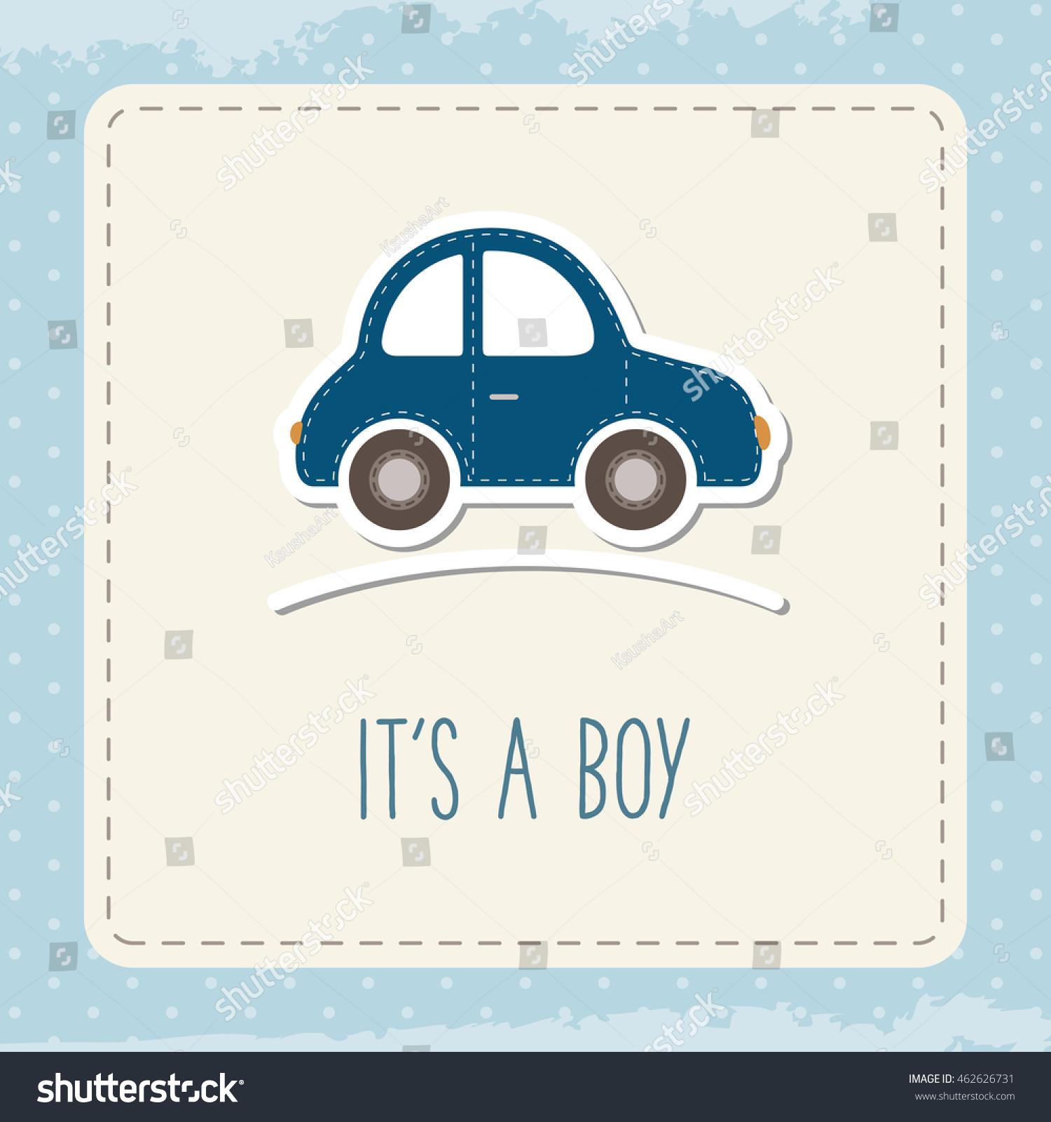 Baby Boy Car Card Boy Greeting Stock Vector Royalty Free 462626731