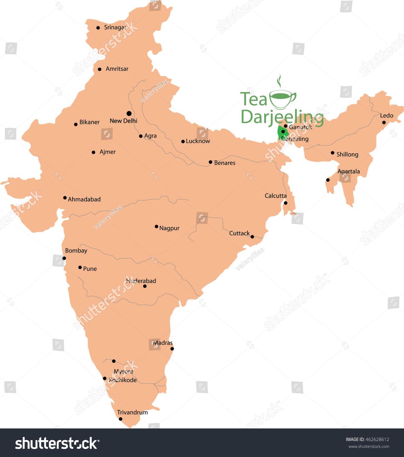 Darjeeling In India Map Tea Map Darjeeling India Stock Vector (Royalty Free) 462628612