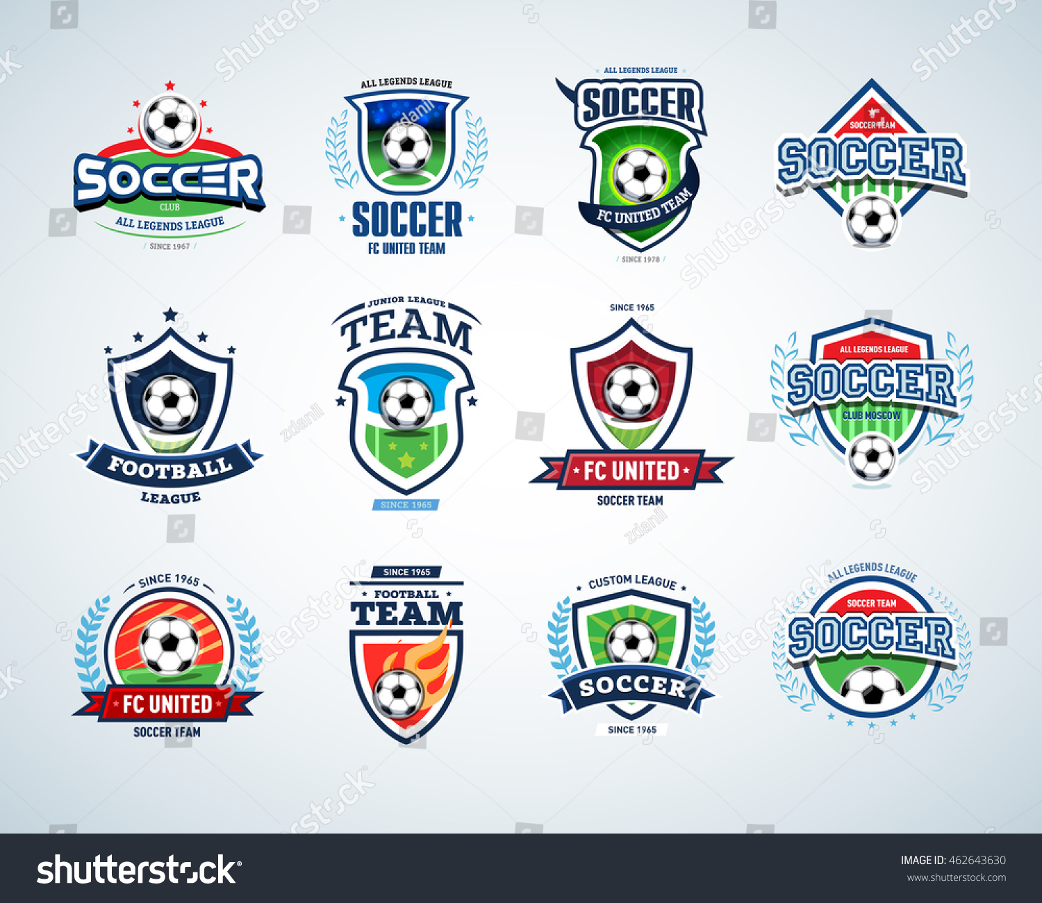 soccer logo templates set football logotypes stock vector royalty