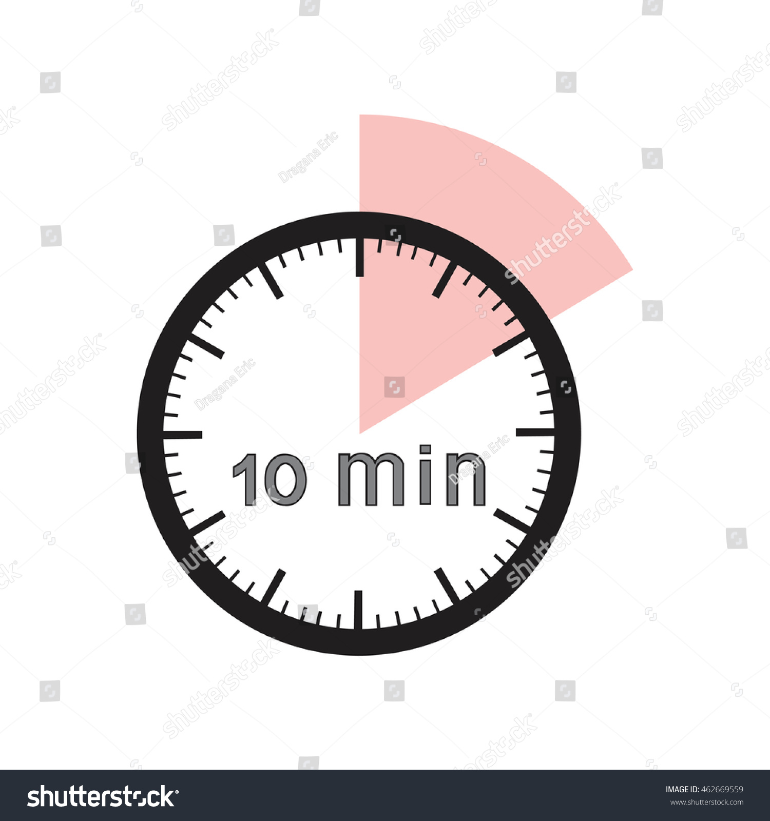 10 Minutes Timer Office Clock Pink Stock Vector 462669559 ...