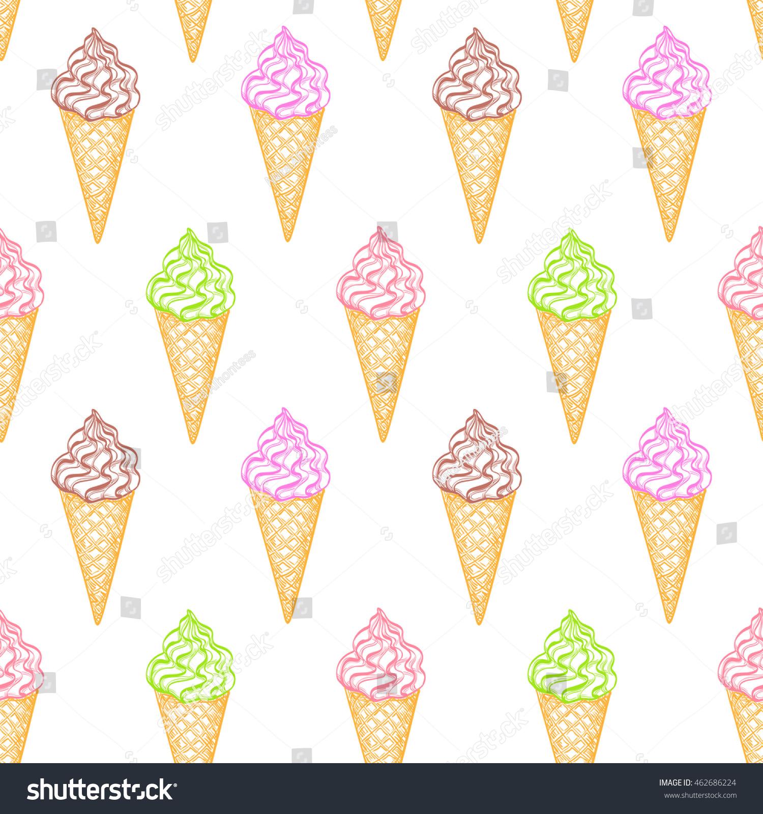 Ice Cream Cones Seamless Pattern Background Stock Vector: Seamless Pattern Ice Cream Cones Hand Stock Vector