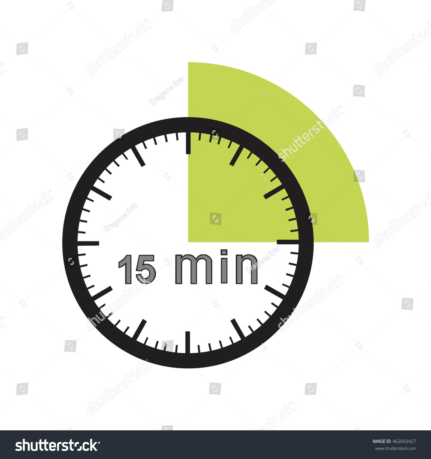 15 Minutes Timer Office Clock Green Stock Vector 462693427 ...