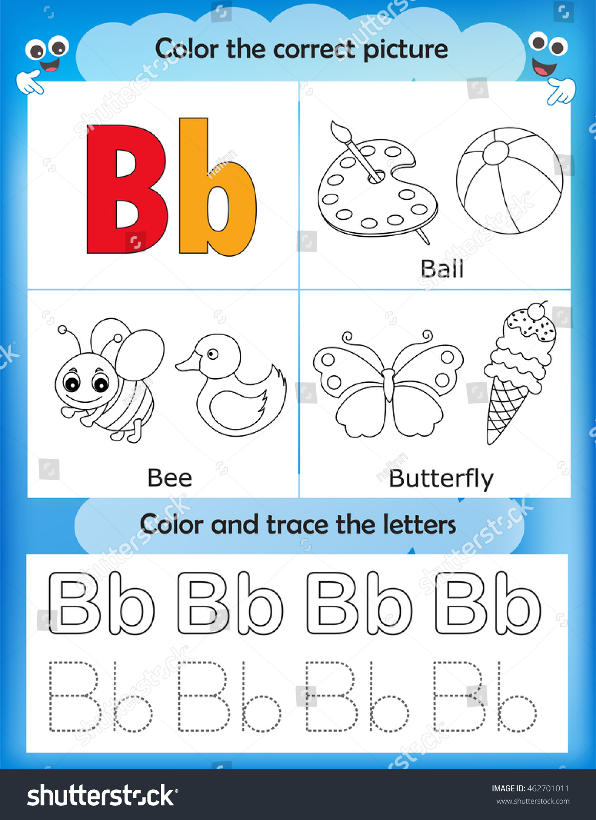 Alphabet Learning Letters Coloring Graphics Printable Worksheet For Preschool Kindergarten Kids Letter B