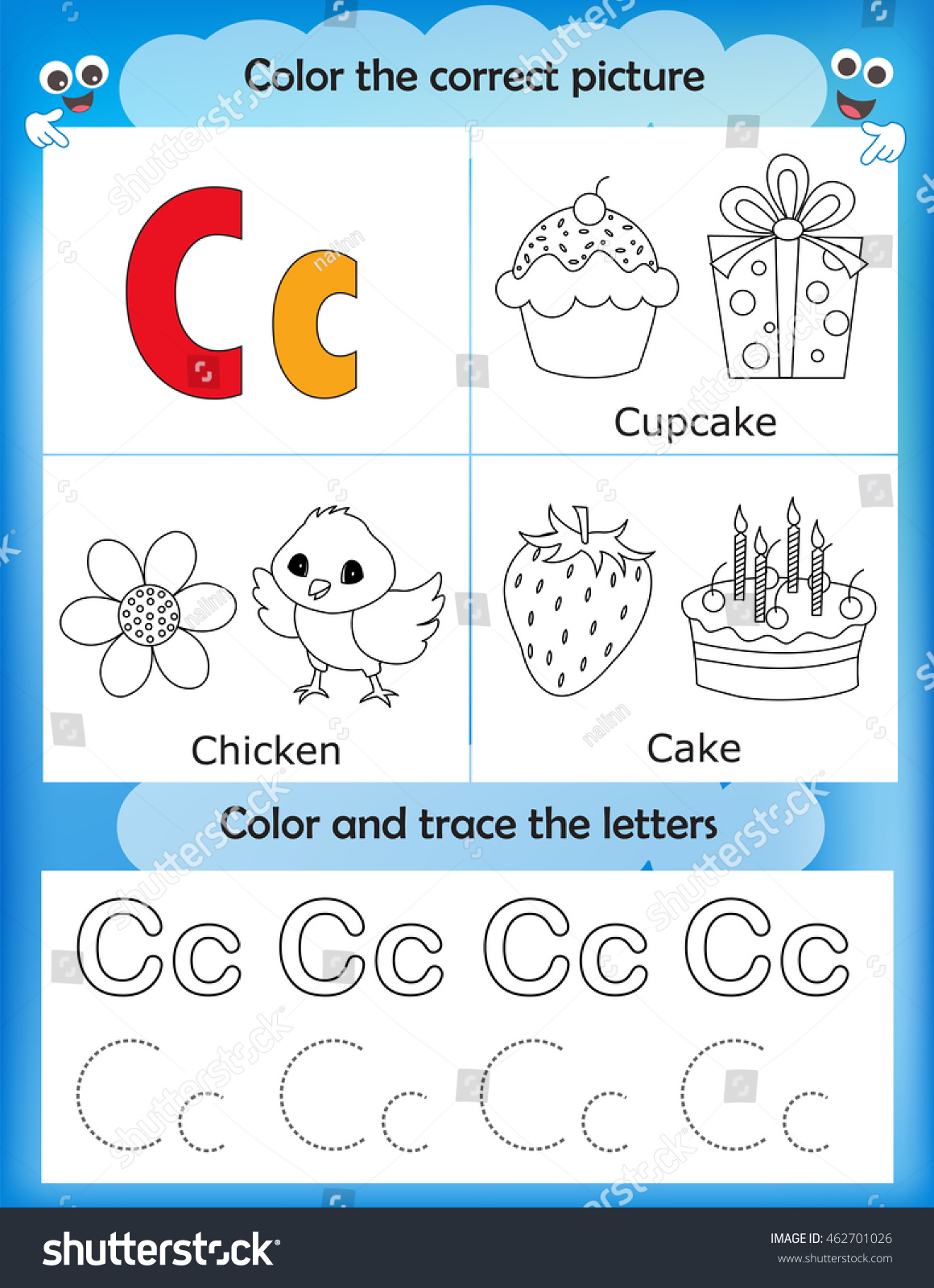 Workbooks letter c worksheets for preschool : Alphabet Learning Letters Coloring Graphics Printable Stock Vector ...