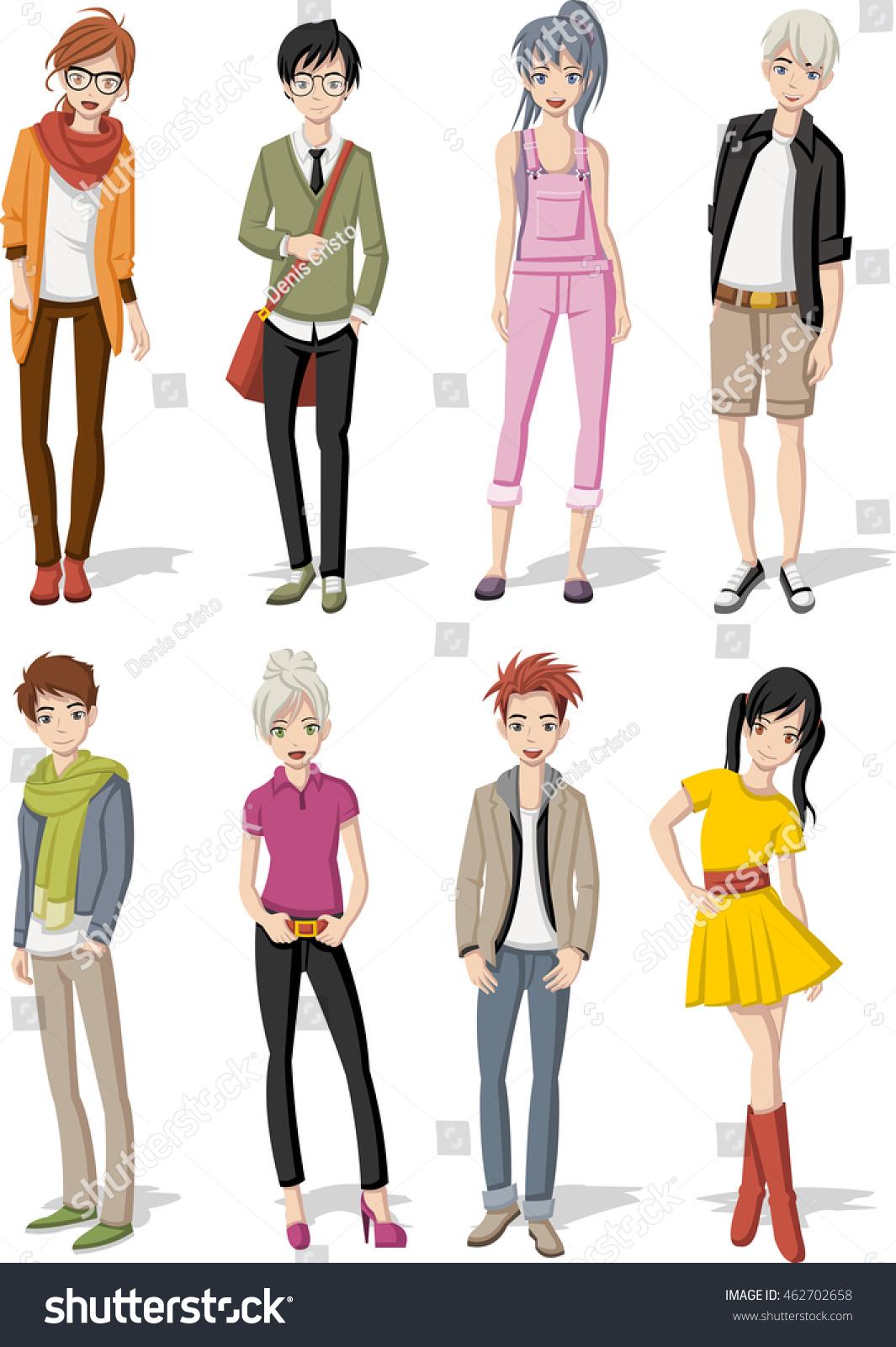 Group Of Cartoon Young People. Manga Anime Teenagers ...
