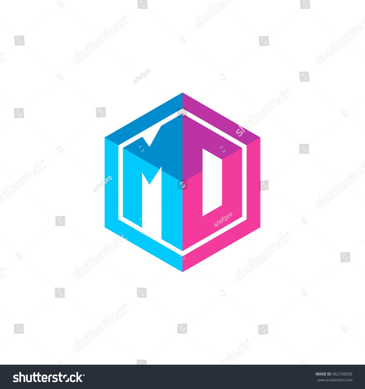 Tj initial luxury ornament monogram logo stock vector - Initial Letters Md Mo Hexagon Box Shape Logo Blue Pink Purple
