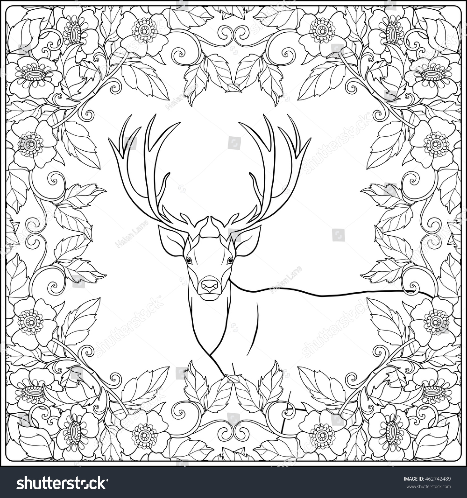Coloring Page Deer Forest Coloring Book Stock Vector 462742489 ...
