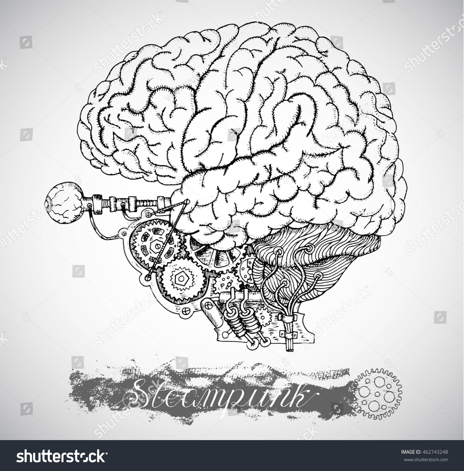 Human Brain Eye Vintage Mechanism Steampunk Stock Vector Royalty