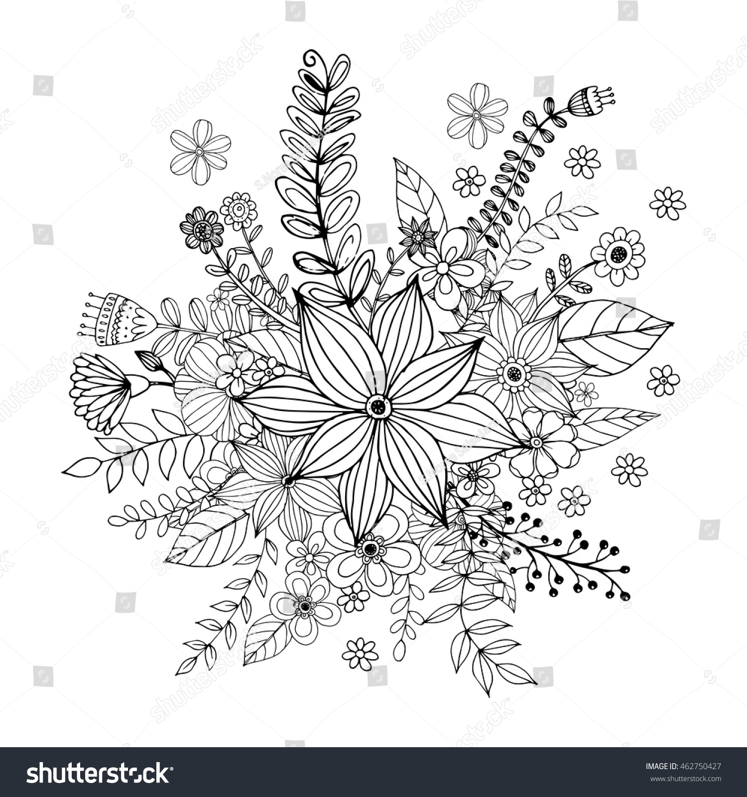 flower doodle drawing freehand vector coloring stock vector