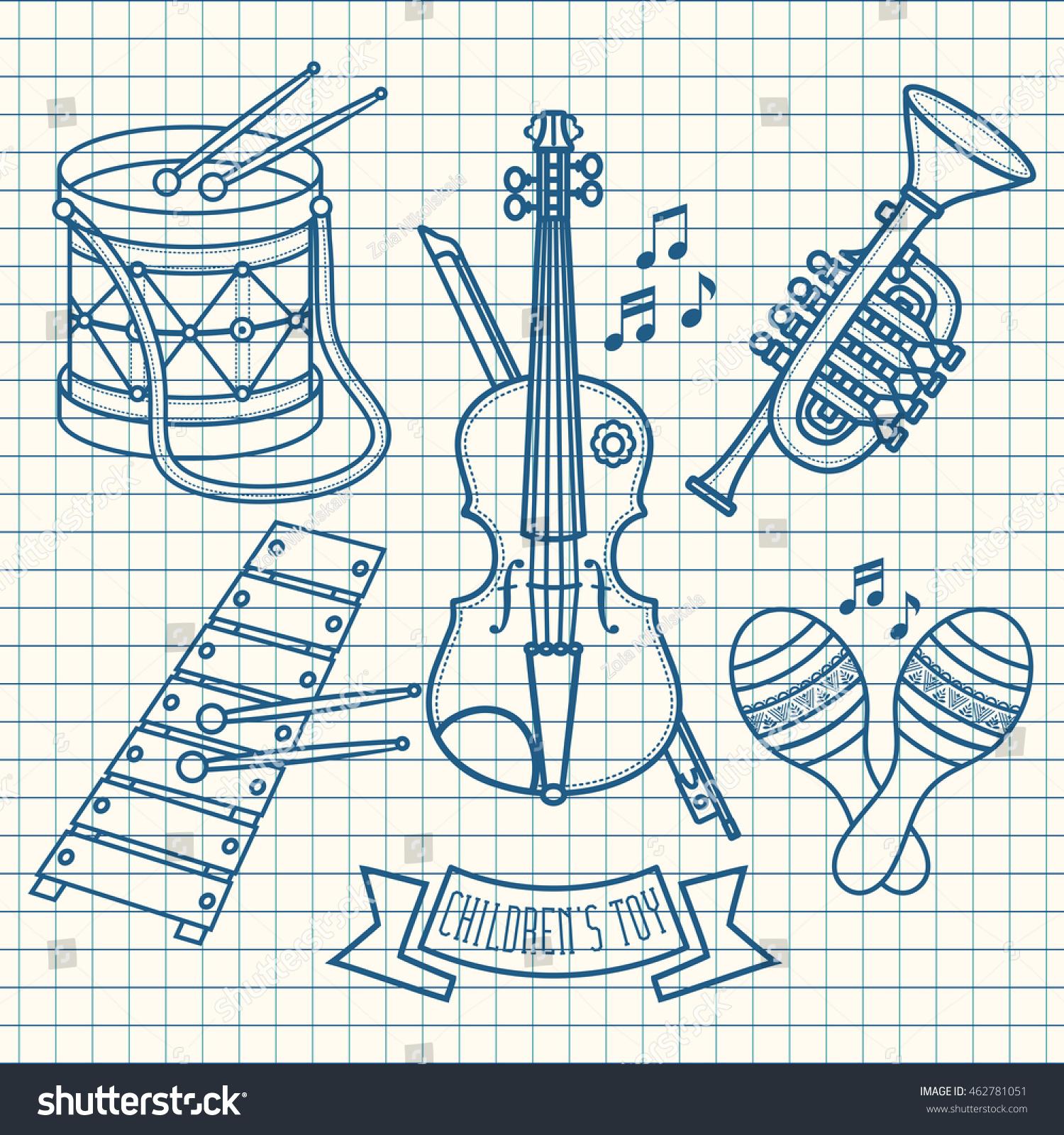 Musical instruments Children's toys Set Violin drum glockenspiel maracas Trumpet Raster Monochrome