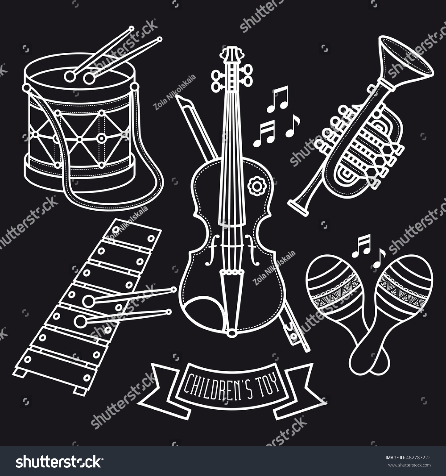 musical instruments childrens toys set violin stock vector