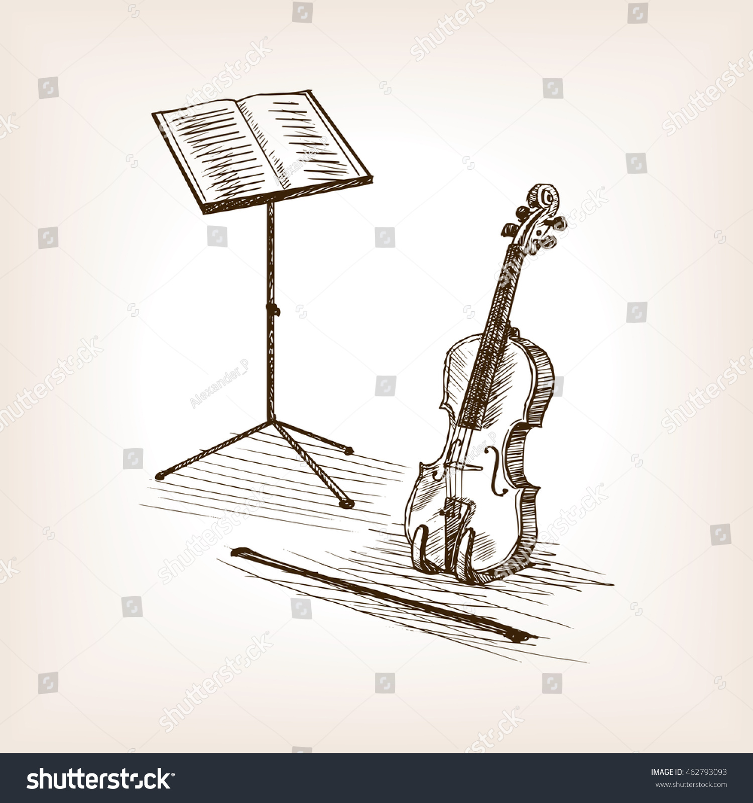 violin bow music stand sketch style stock vector 462793093