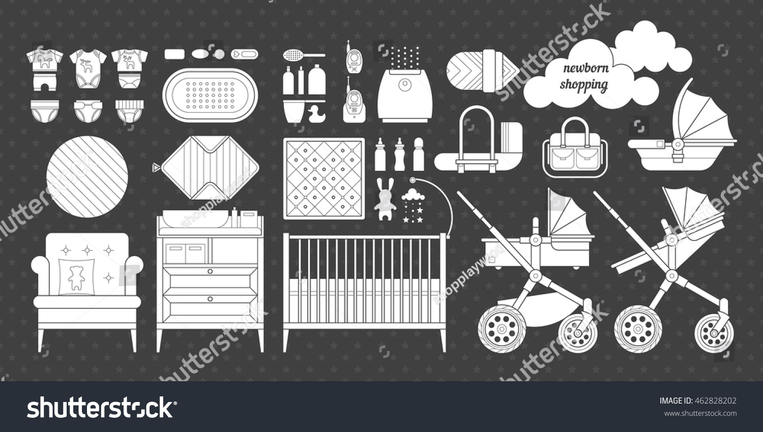 Icons Newborn Products Cribs Baby Stroller Stock Vector Hd Royalty