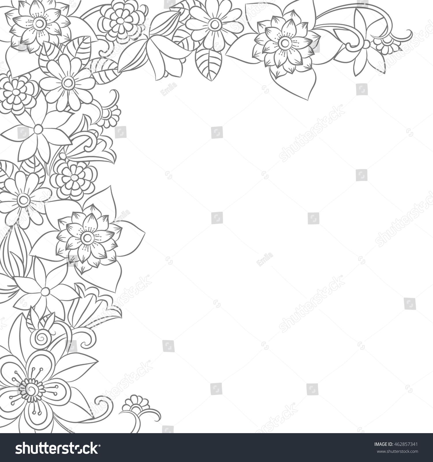 Vector Monochrome Flower Frame Corner Floral Elements In Black And