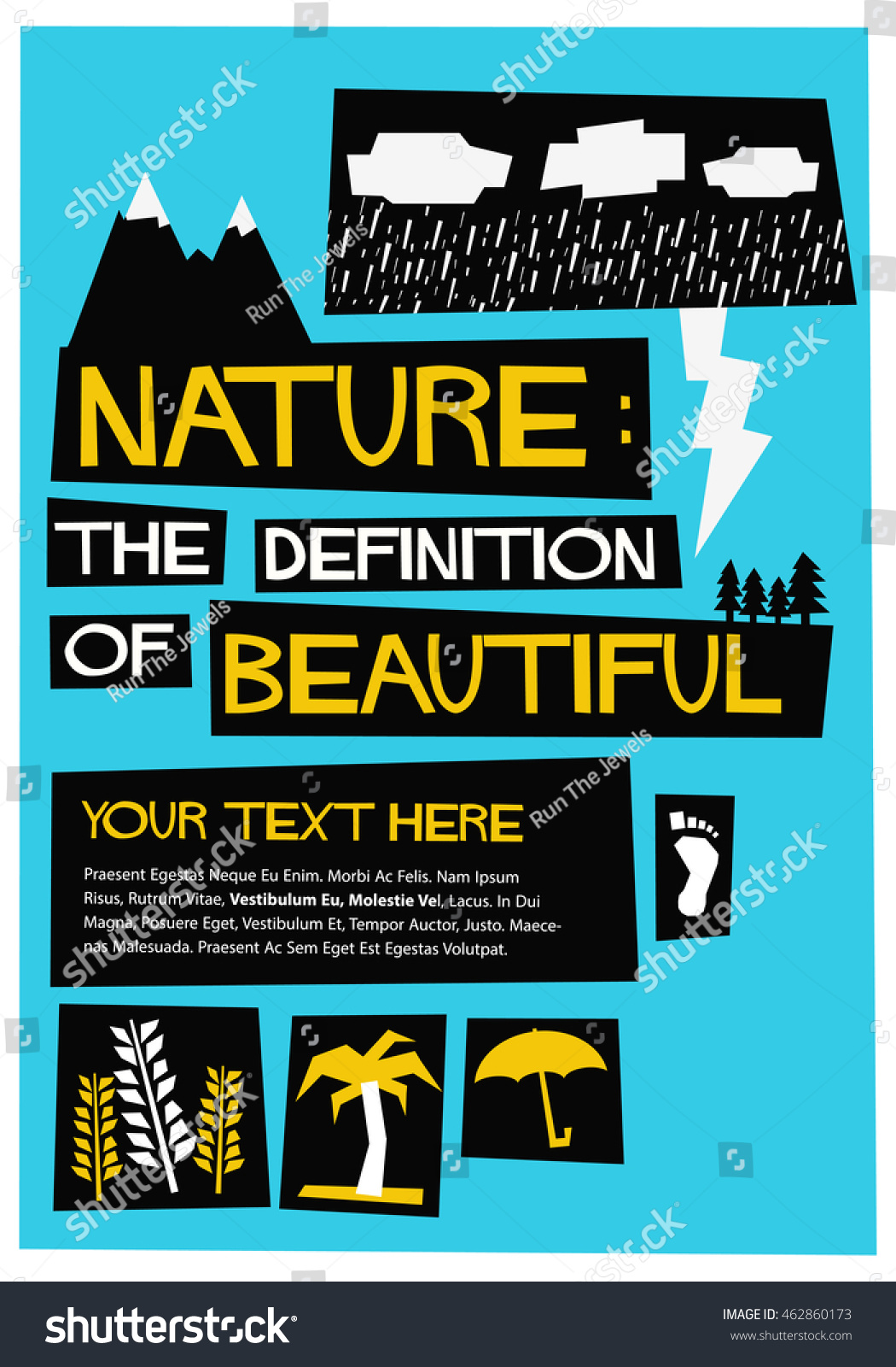 Definition of a poster design - Nature The Definition Of Beautiful Flat Style Vector Illustration Quote Poster Design