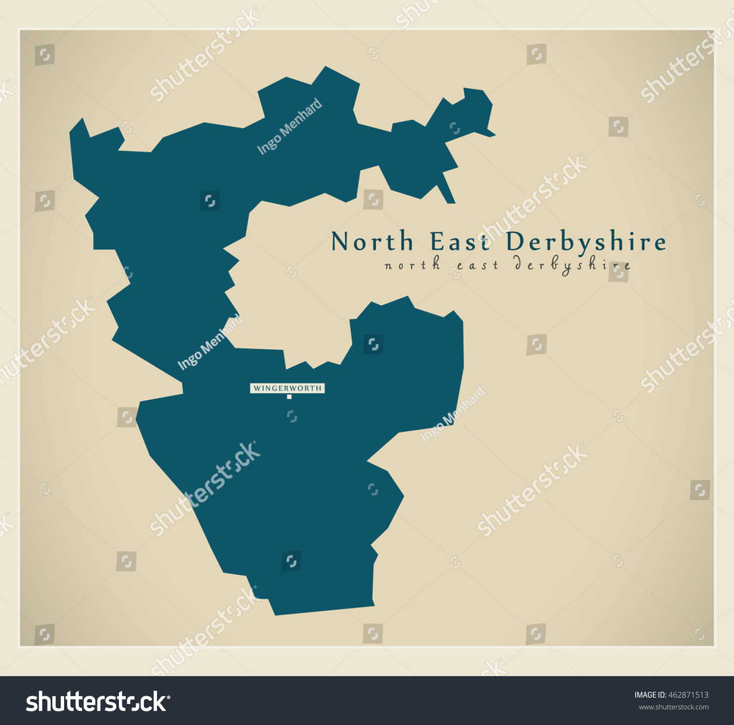 Map Of Uk North East.Modern Map North East Derbyshire District Stock Vector Royalty Free