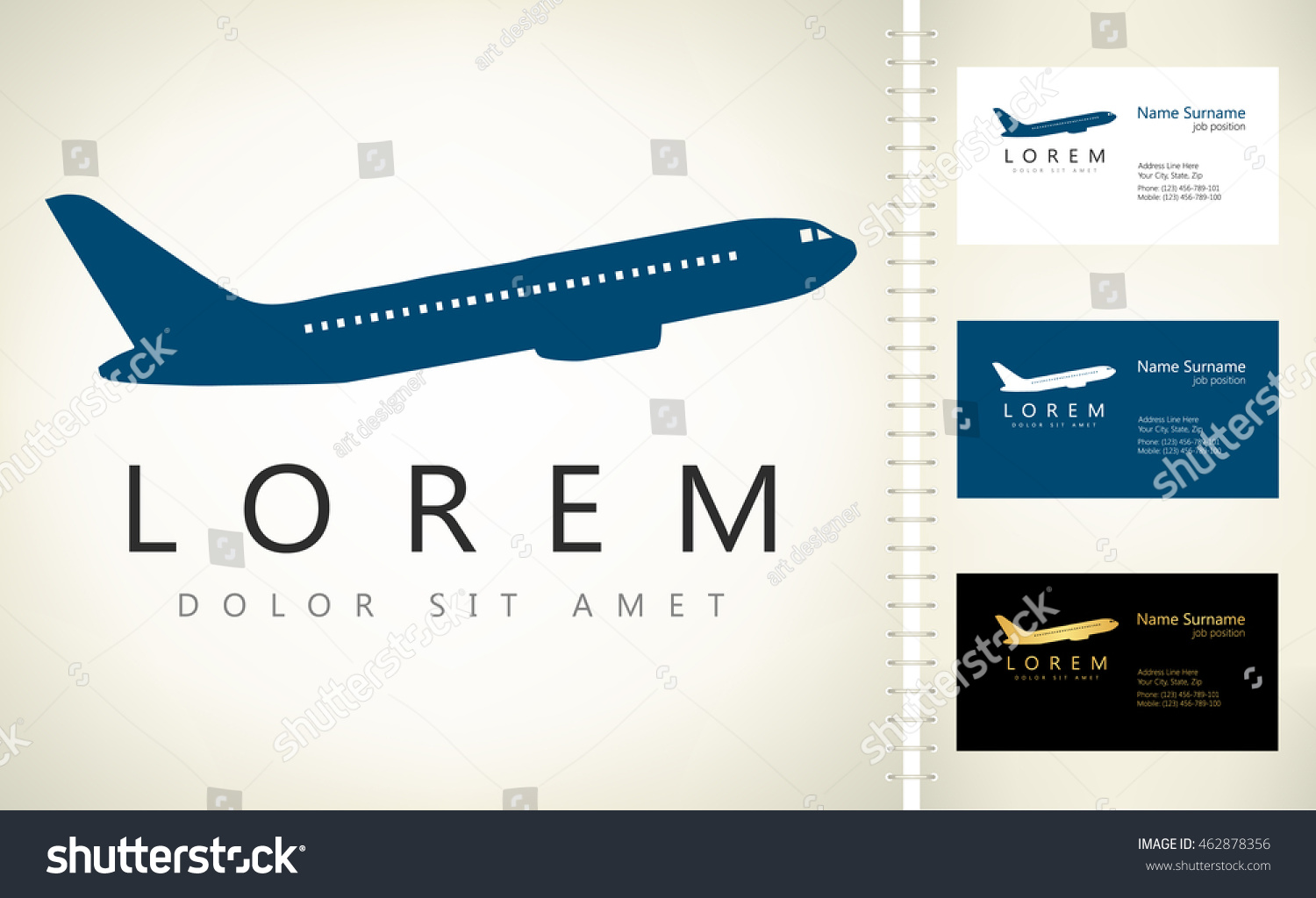 Aircraft Vector Business Card Template Stock Vector 462878356 ...